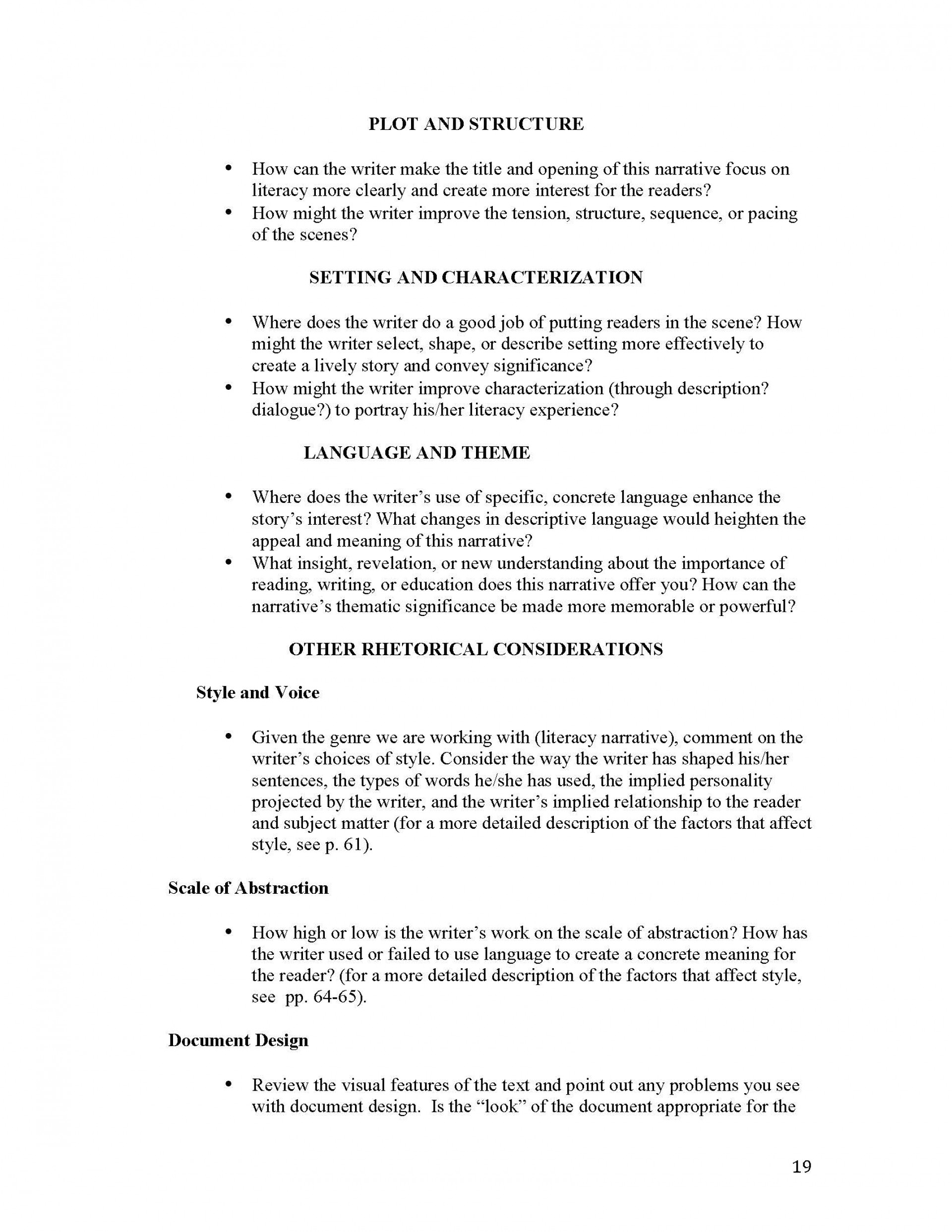 019 Narrative Essay Outline Unit 1 Literacy Instructor Copy Page 19 Impressive Doc Sample 1920