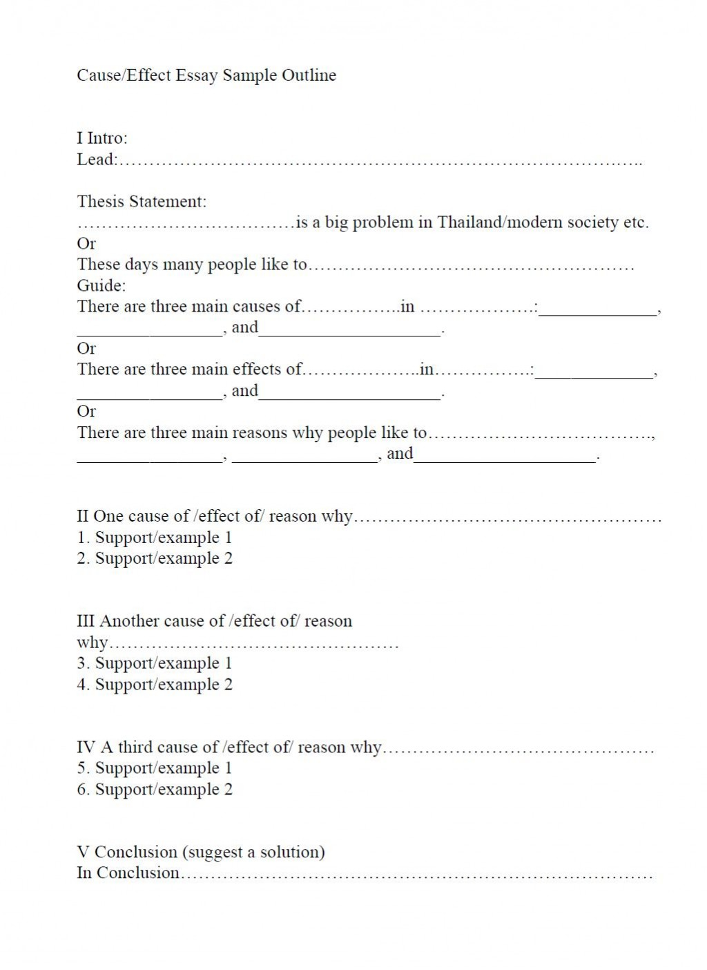 019 Outline And Essay Cause Effect Sample Impressive Template For Compare Contrast Printable Large