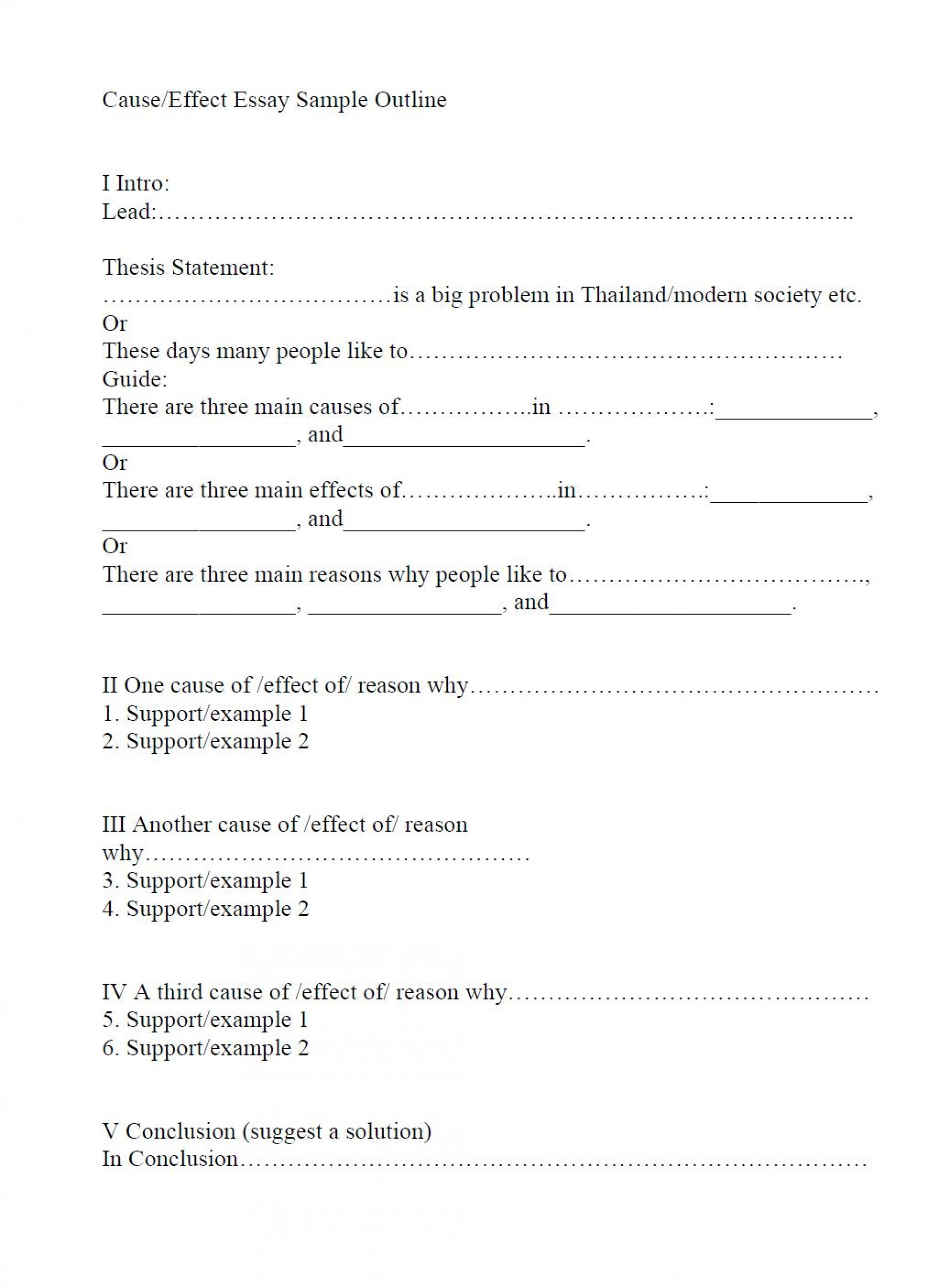 019 Outline And Essay Cause Effect Sample Impressive Template For Compare Contrast Printable 1920