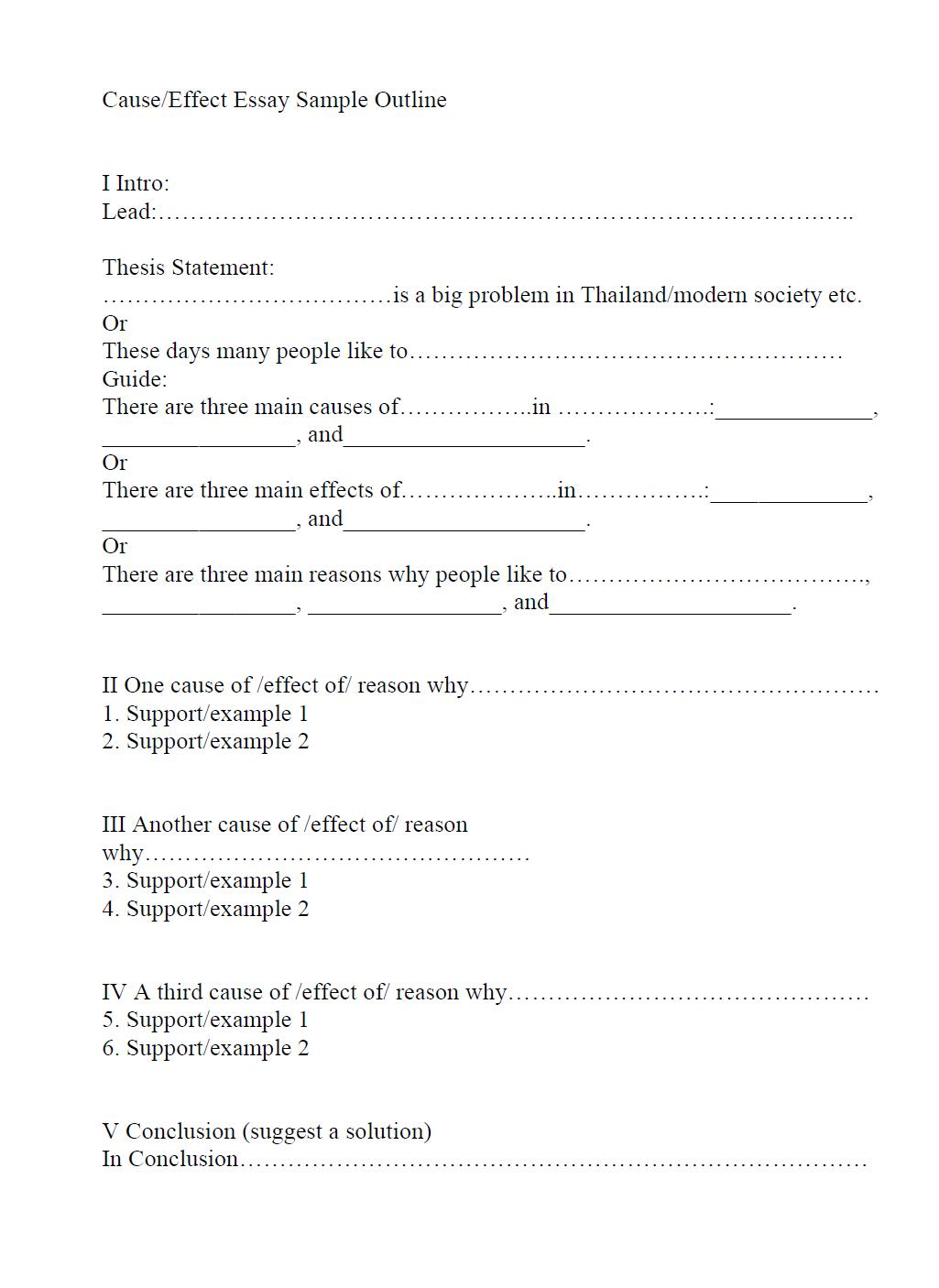 019 Outline And Essay Cause Effect Sample Impressive Template For Compare Contrast Printable Full