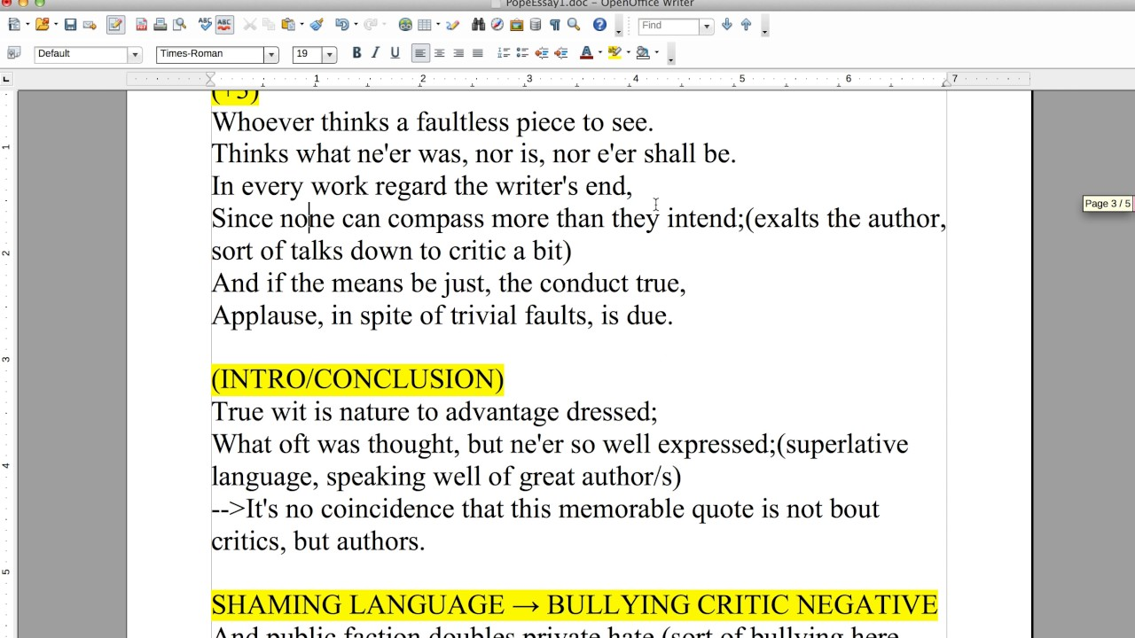 019 Pope Essay On Criticism With Line Numbers Example Outstanding Full