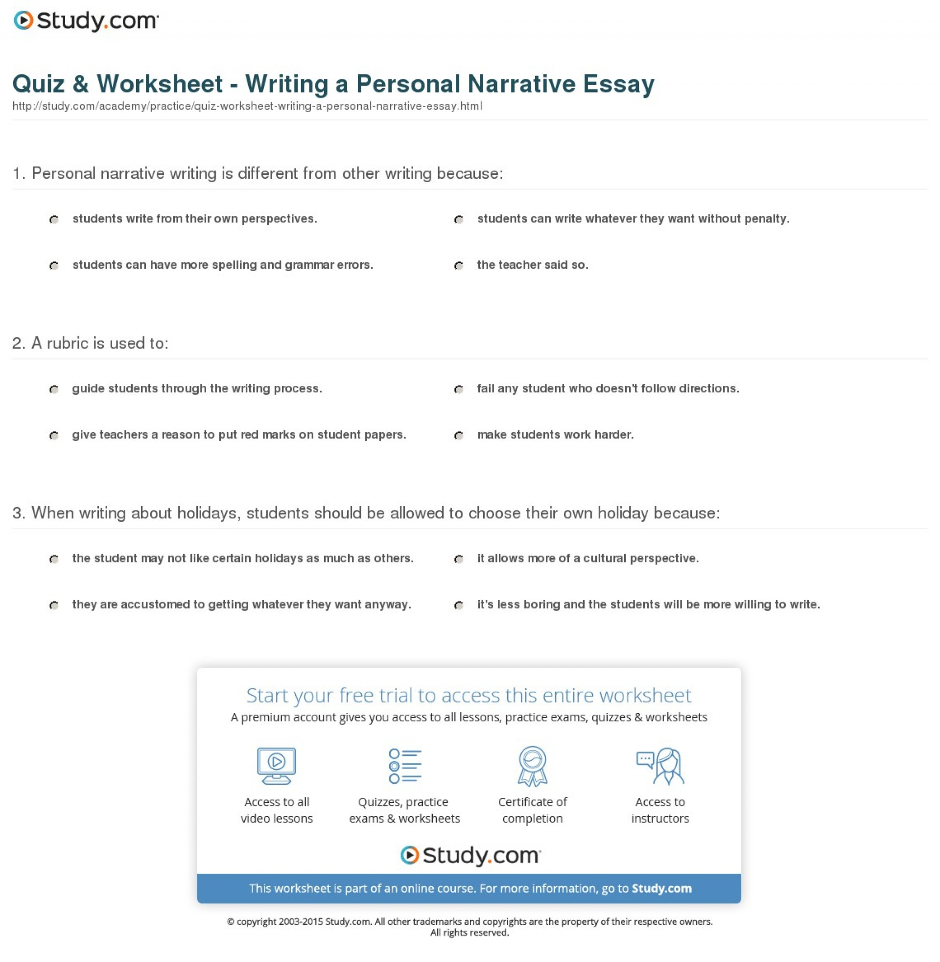 019 Quiz Worksheet Writing Personal Narrative Essay Topics For Imposing A Essays College Students 3 1920
