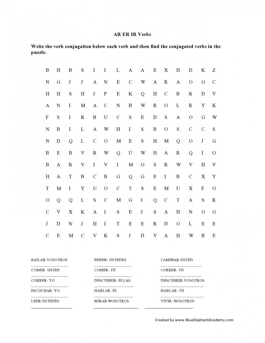 019 Spanish Essay Checker Example Ar Er Ir Verbs Wordsearch Remarkable