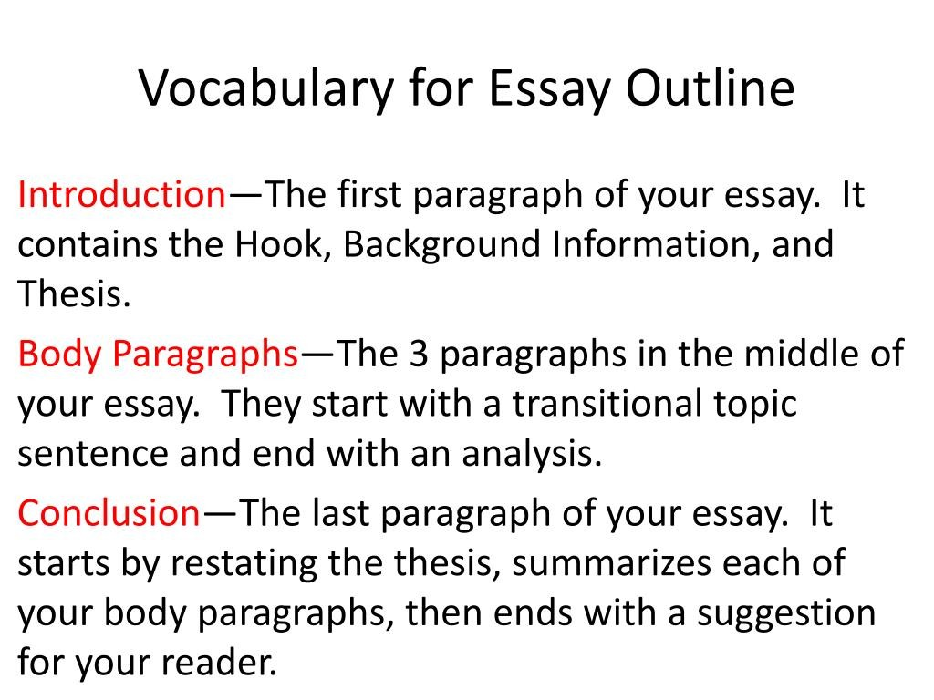 019 Vocabulary For Essay Outline L First Paragraph Of An Awful Apa Should You Indent The Is Called Large