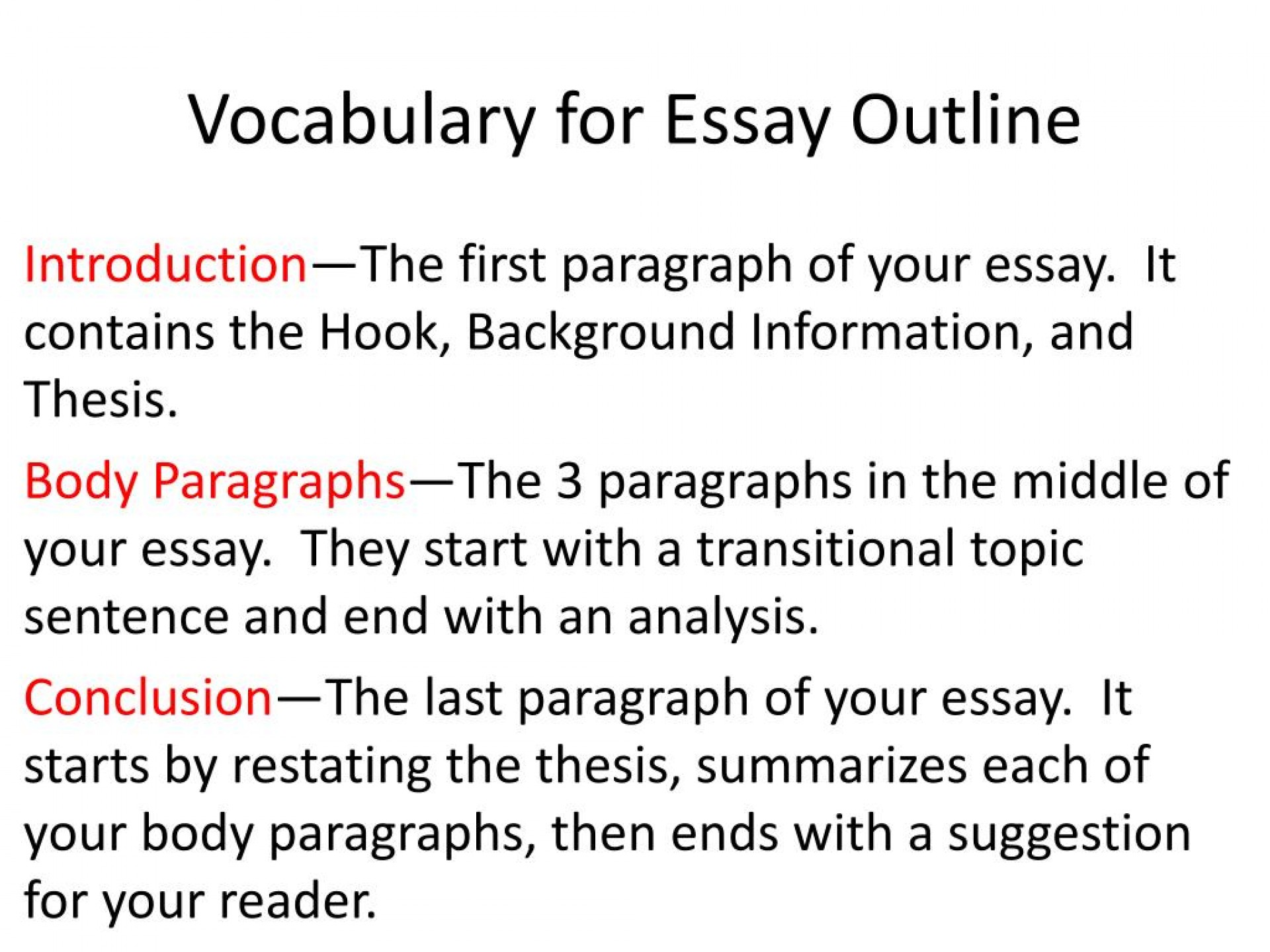 019 Vocabulary For Essay Outline L First Paragraph Of An Awful Apa Should You Indent The Is Called 1920