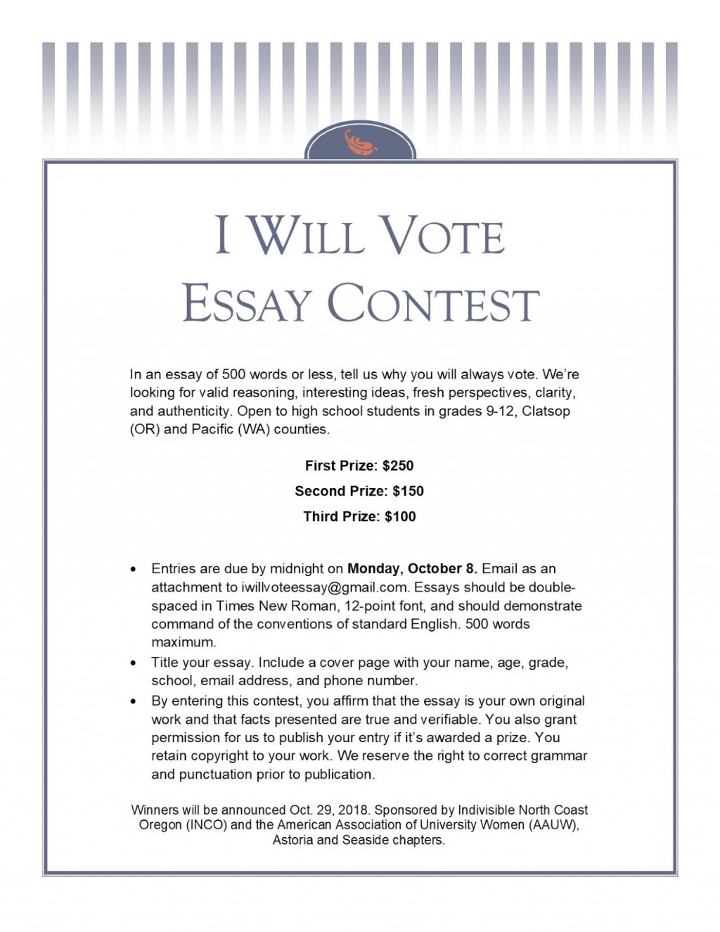 019 Why Is It Important To Vote Essay Contest 182bessay2bcontest2bflier2bdraft Top Large
