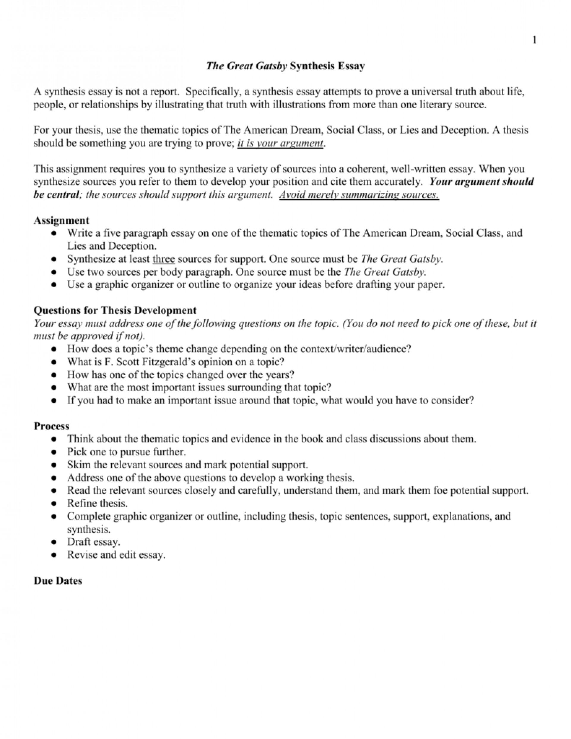 020 009200484 1 The Great Gatsby Essay Topics Exceptional Literary Question Chapter 1920