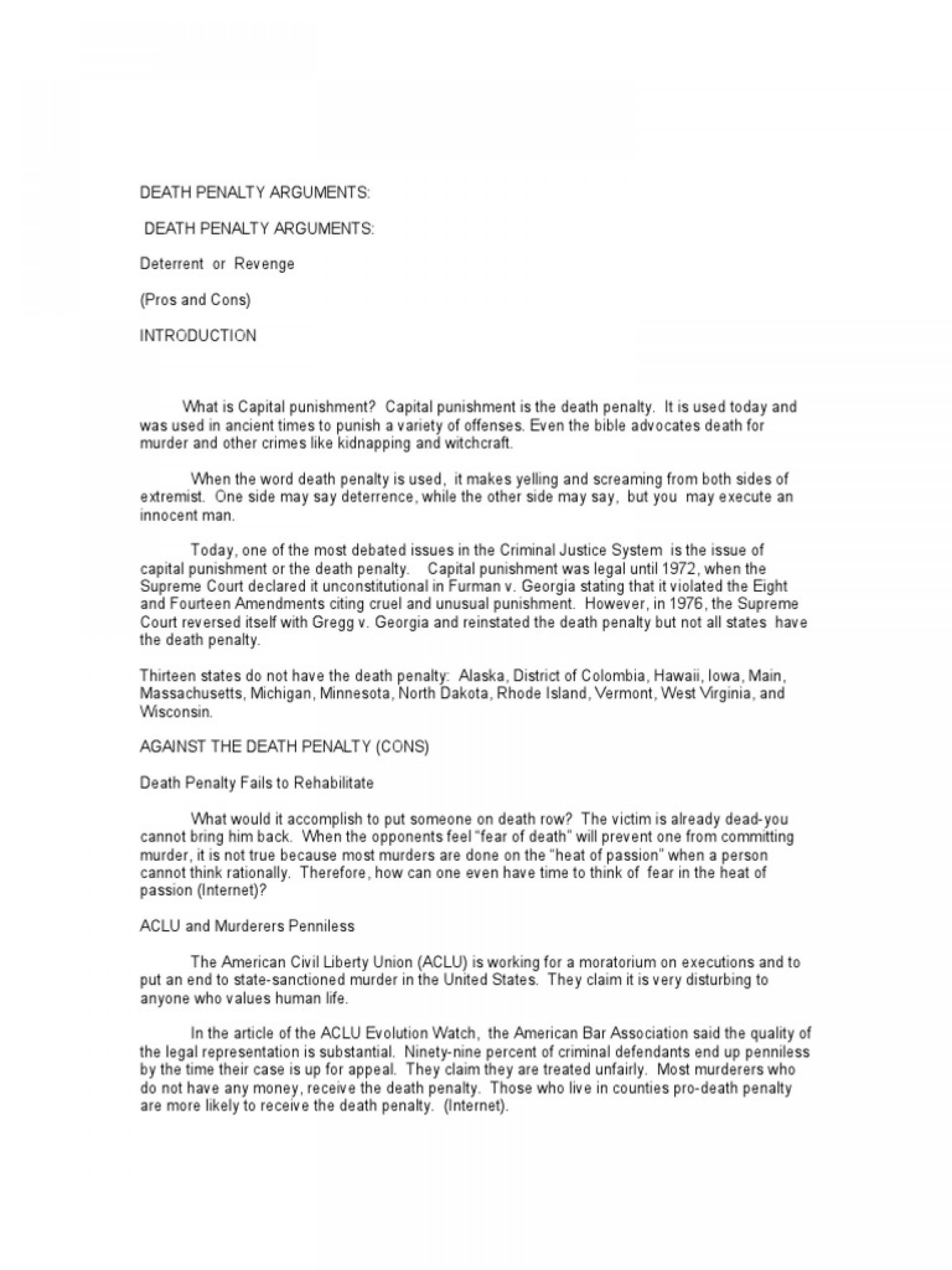 020 Argumentative Essays On The Death Penalty Pro Ornellas Position Paper Outline Term Essay Persuasive Against Sensational Anti Conclusion Hook For 1920