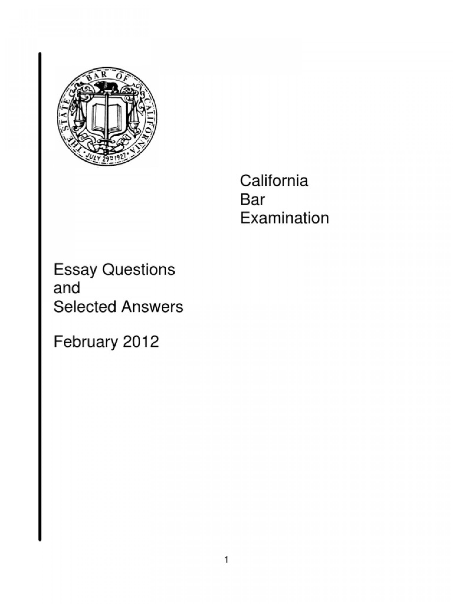 020 California Bar Essays Essay Example Exam February Selected A 58bfe824b6d87fac848b5294 Marvelous Topics Frequency 2018 Ca Grading 1920