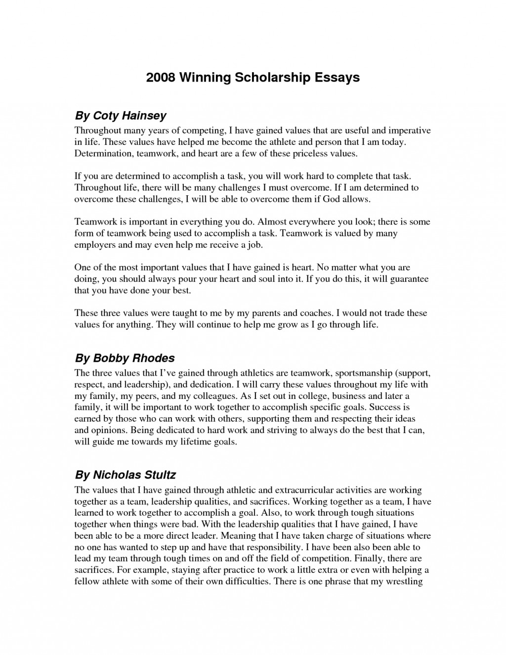 020 Essay Example Awesome Collection Of Best Scholarship Guidelines Unique What Do You Value Scholarships With Singular Essays Without Writing For High School Juniors Class 2020 No 2019 Large