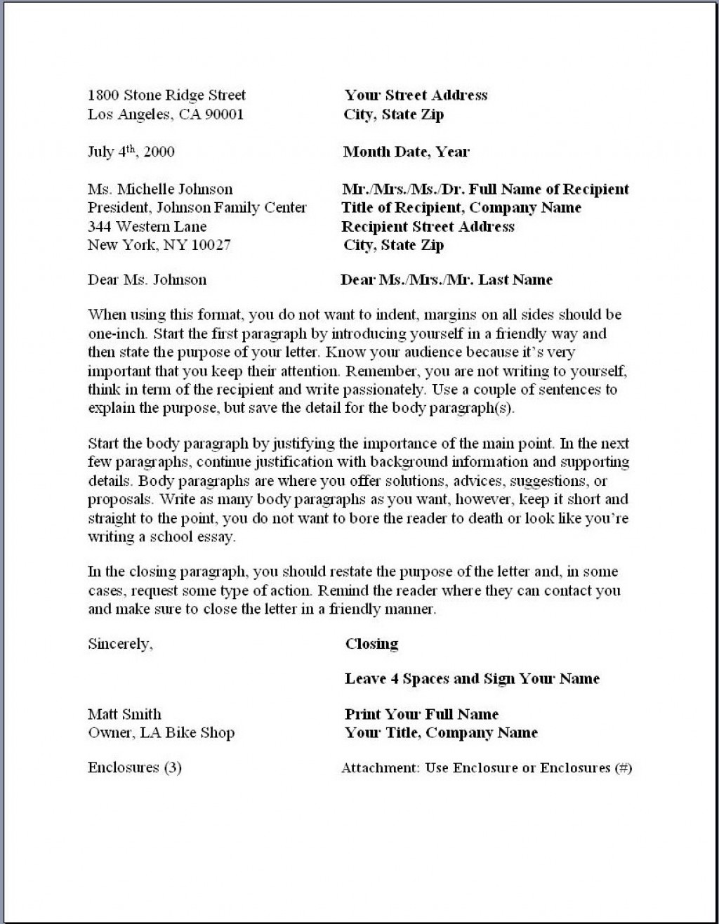 020 Essay Example Business Letterat Proper Formidable Form Paper Format Reflection Large