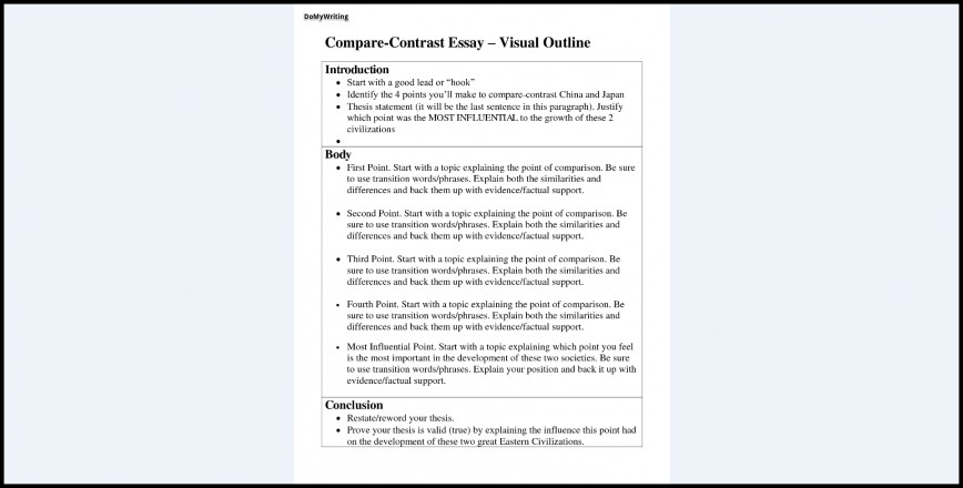 020 Essay Example Compare And Contrast Magnificent Outline Template Pdf Comparison Examples