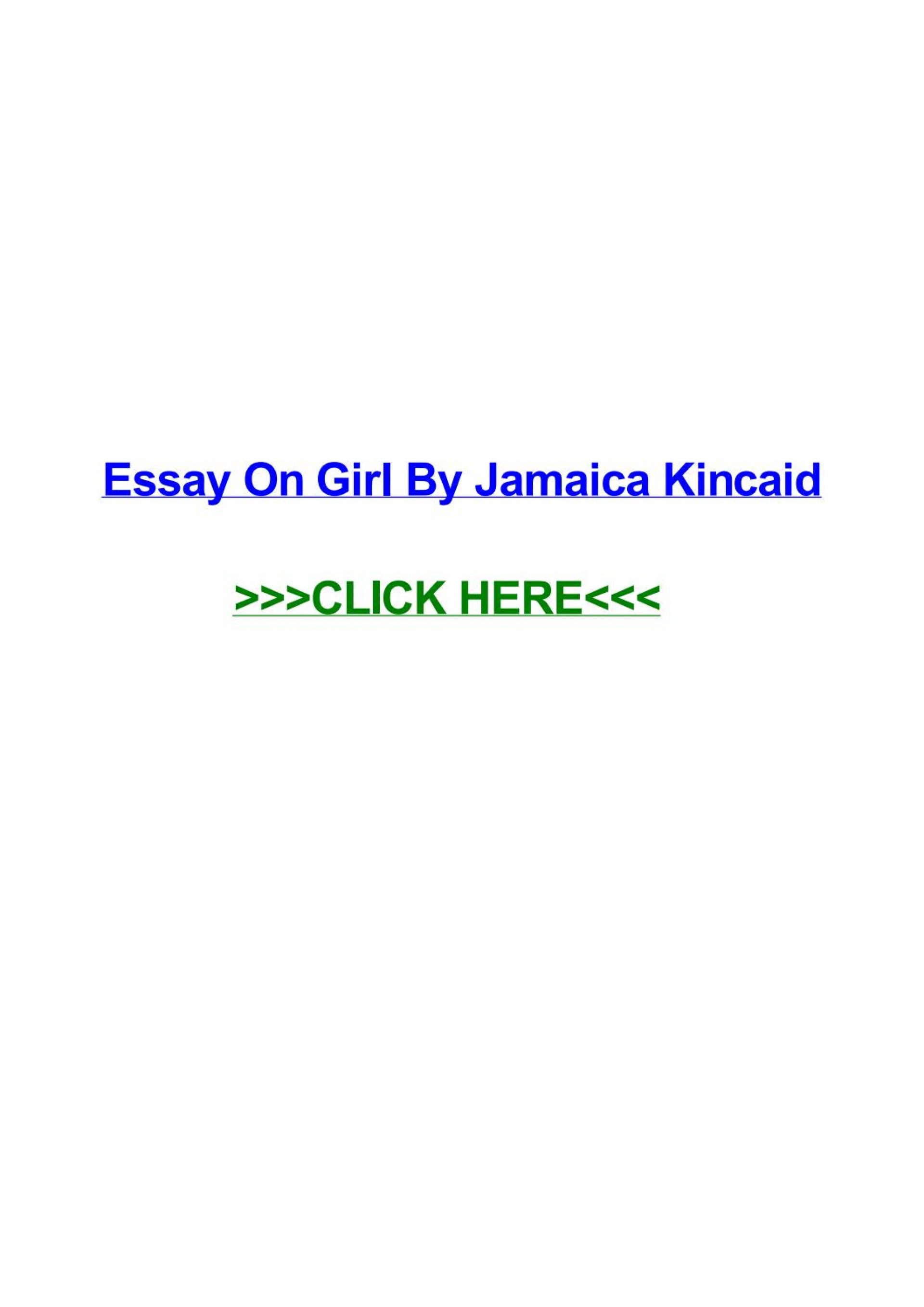 020 Essay Example Girl By Jamaica Kincaid Page 1 Marvelous 1920