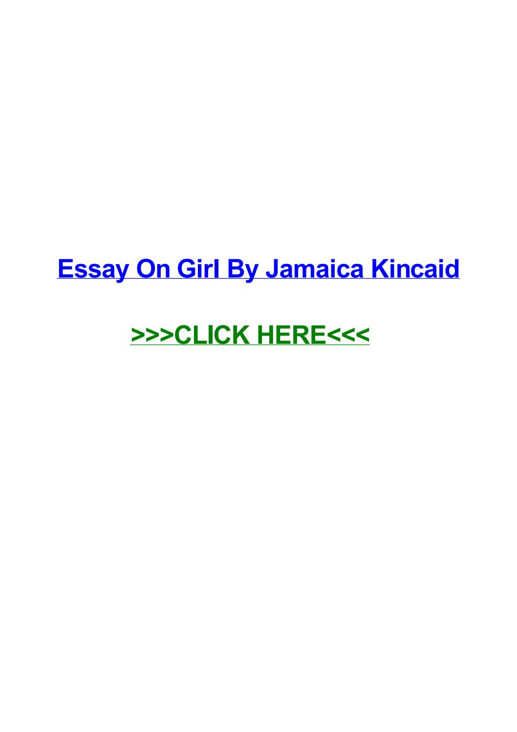 020 Essay Example Girl By Jamaica Kincaid Page 1 Marvelous Full