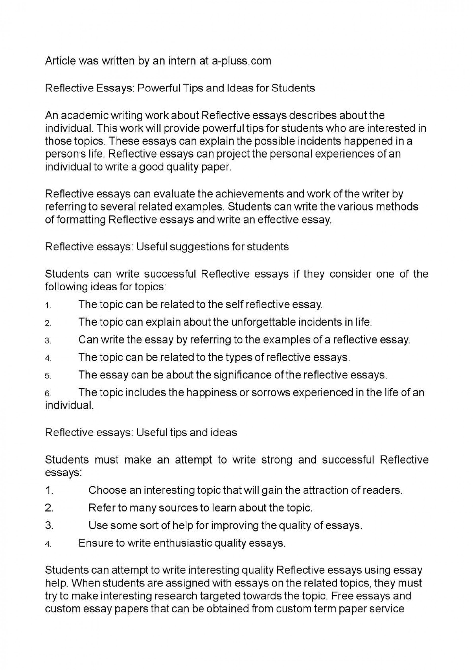 003 Reflective Essays Free National Honor Society Application Essay