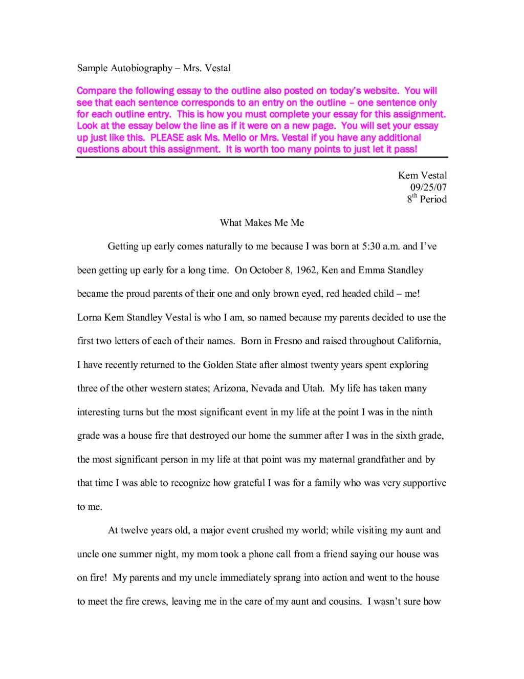 020 Essay Example Story Of My Life Autobiography Sample About School Dream First Day In Experience Descriptive Ideal Unbelievable Conclusion Broken Family Large