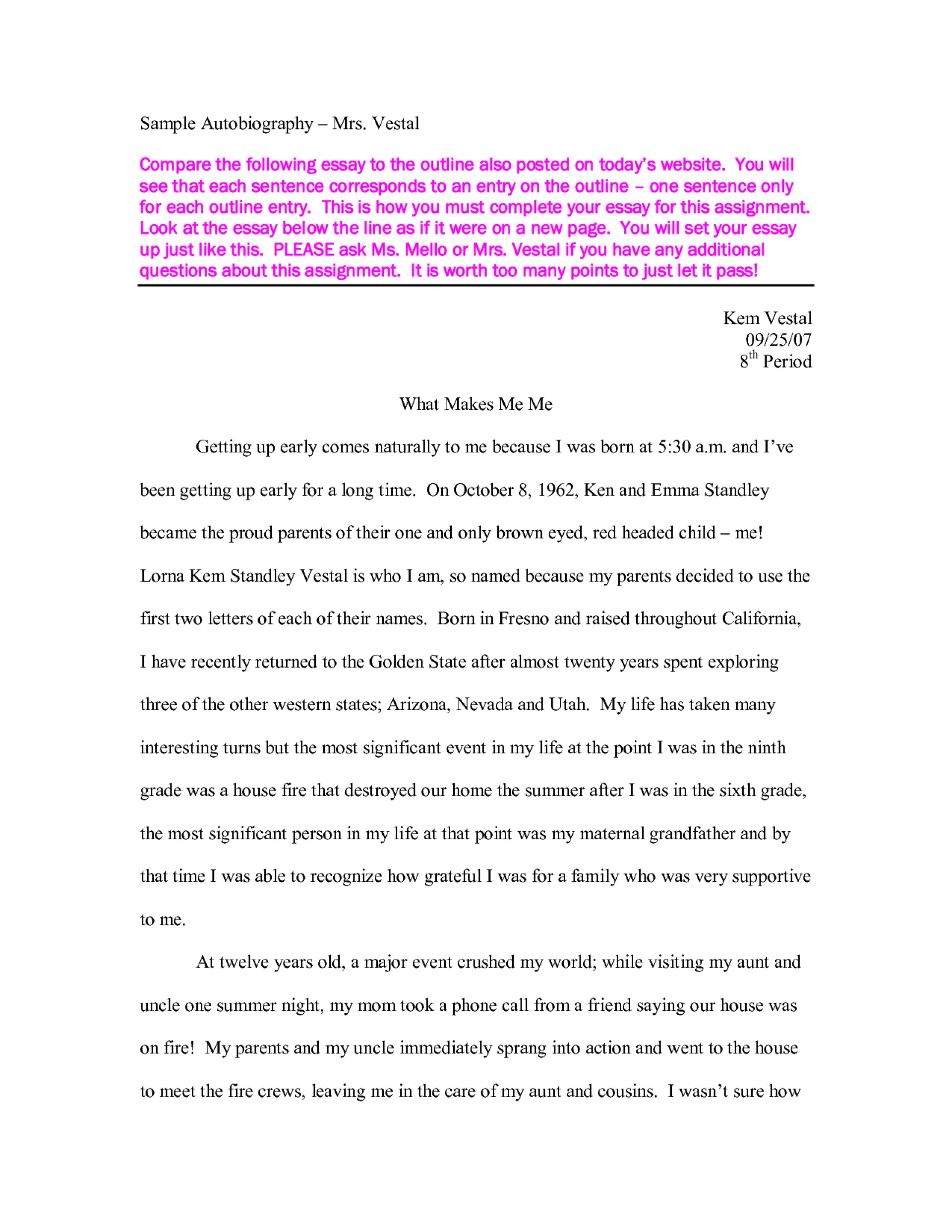 020 Essay Example Story Of My Life Autobiography Sample About School Dream First Day In Experience Descriptive Ideal Unbelievable Conclusion Broken Family 1920