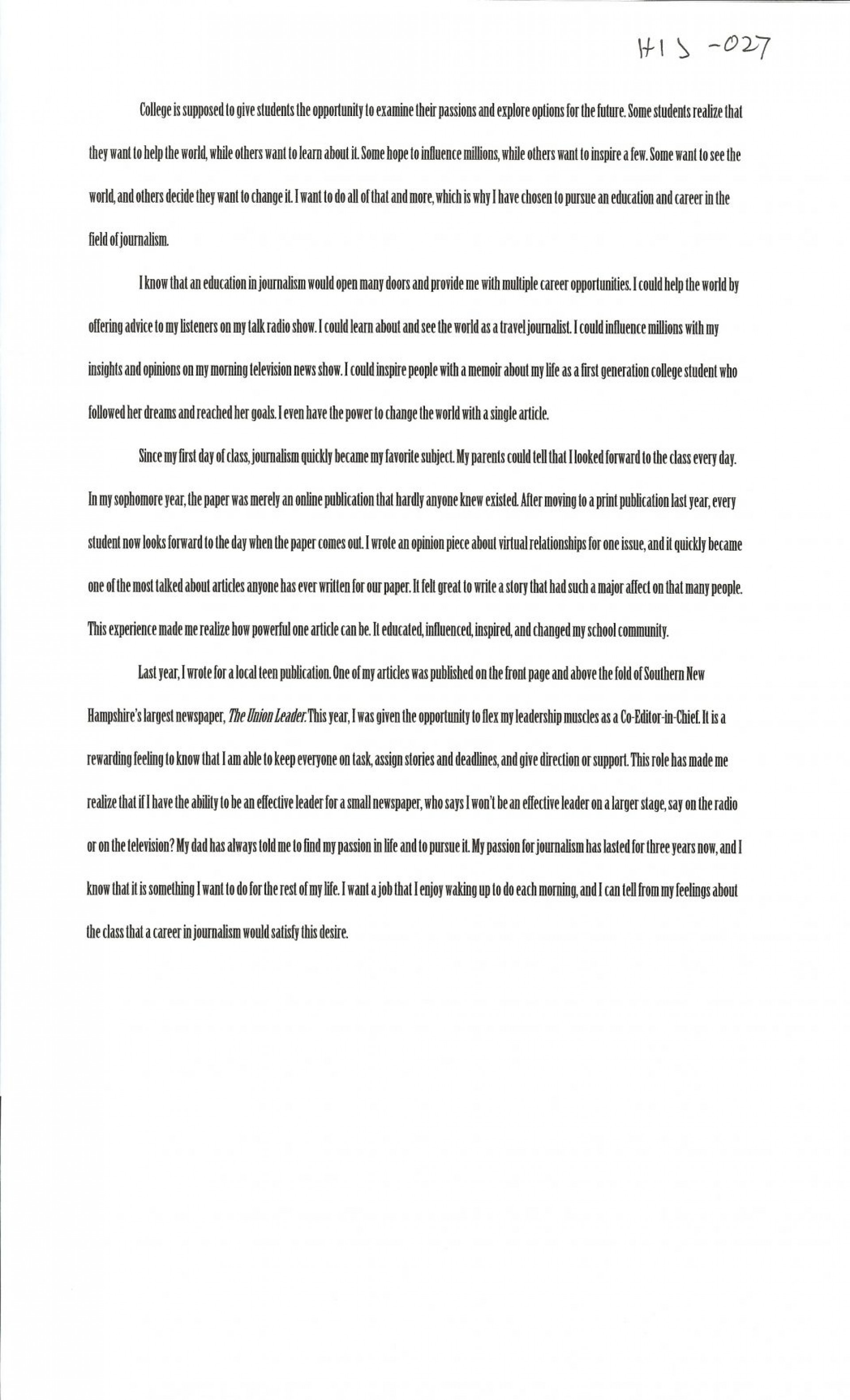 020 Interview Essayss Cover Page For College Admission Essay Samples Free Alexa Serrecchia 1048x1726 Formidable Examples Sample 1920