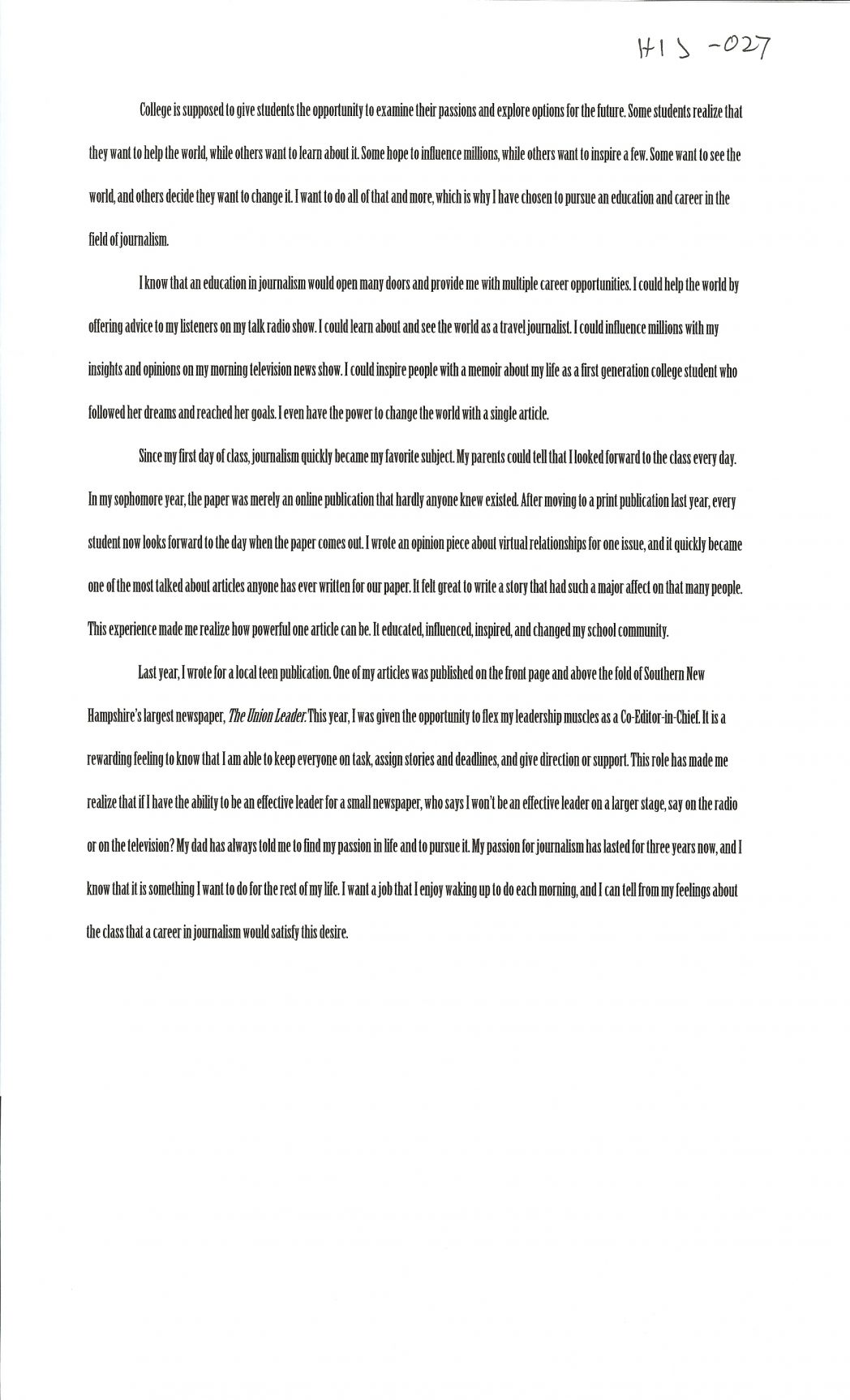 020 Interview Essayss Cover Page For College Admission Essay Samples Free Alexa Serrecchia 1048x1726 Formidable Examples Sample Full