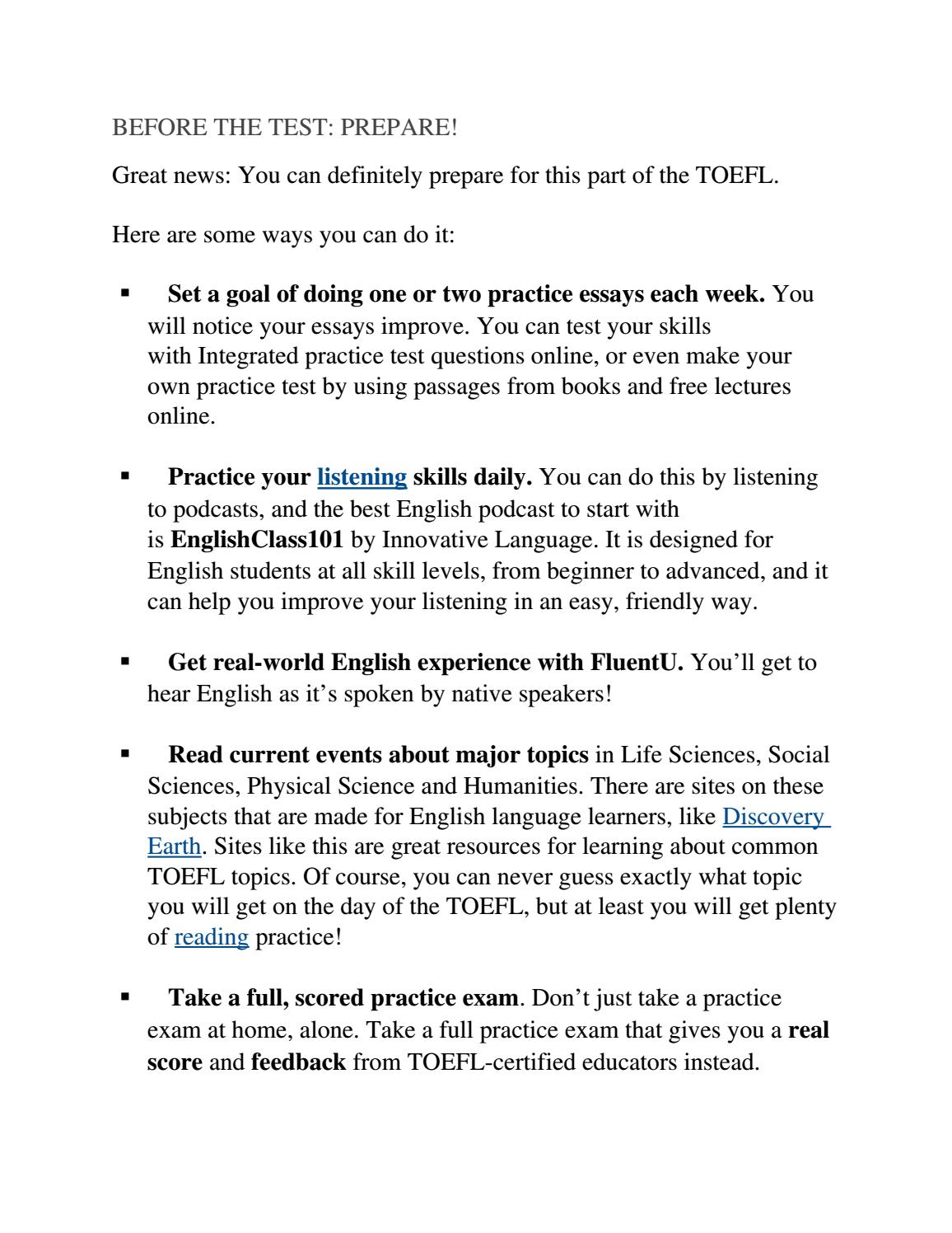 020 Page 1 Essay Toefl Topics Dreaded 2017 185 Pdf Ets Full