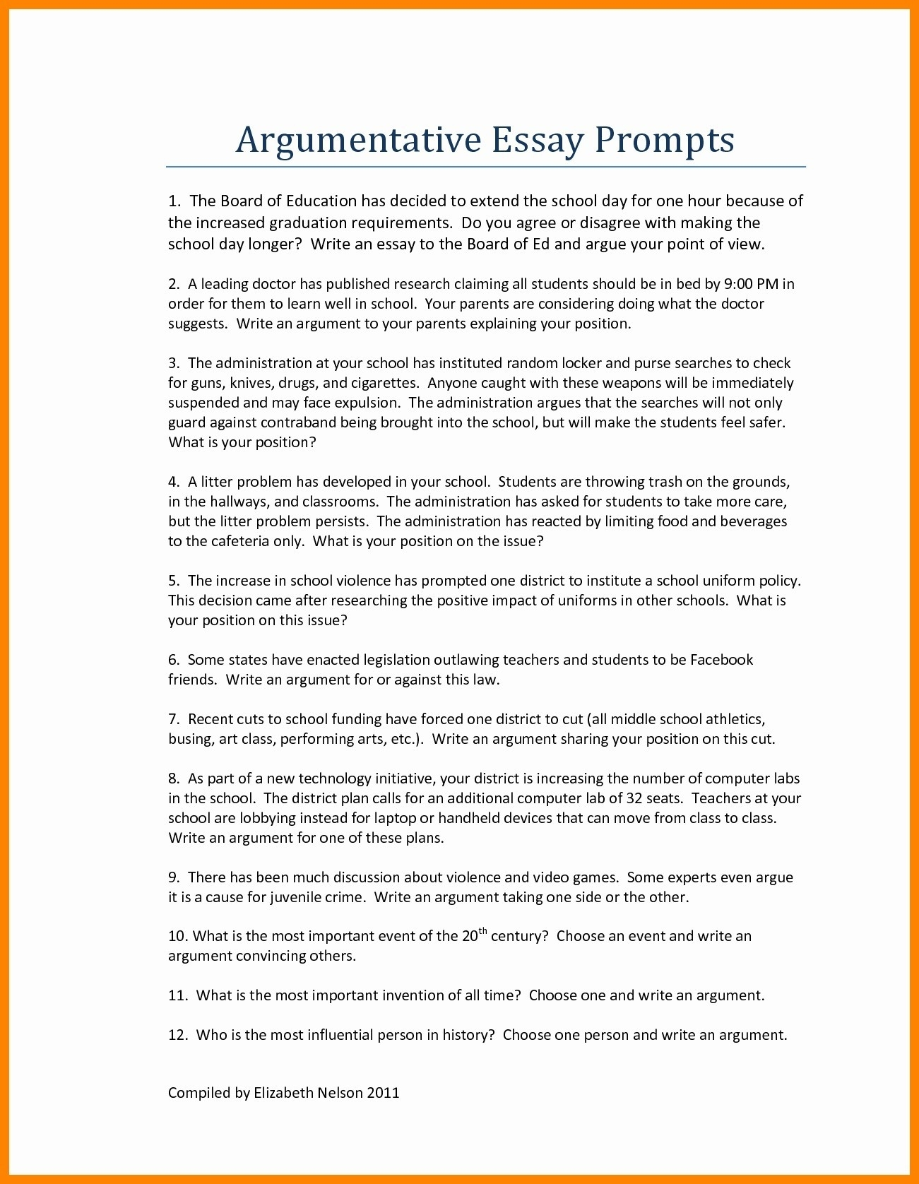 interesting argumentative essay topics for high school students