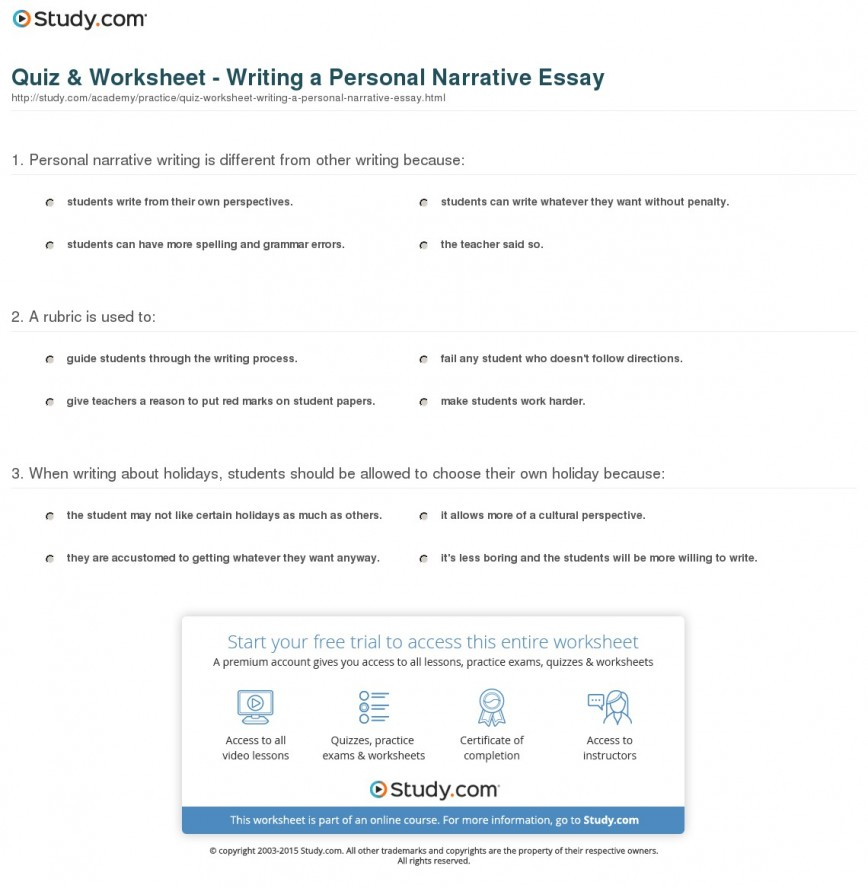 020 Quiz Worksheet Writing Personal Narrative Essay Essays Unusual On Traveling Topics For High School Students Grade 4