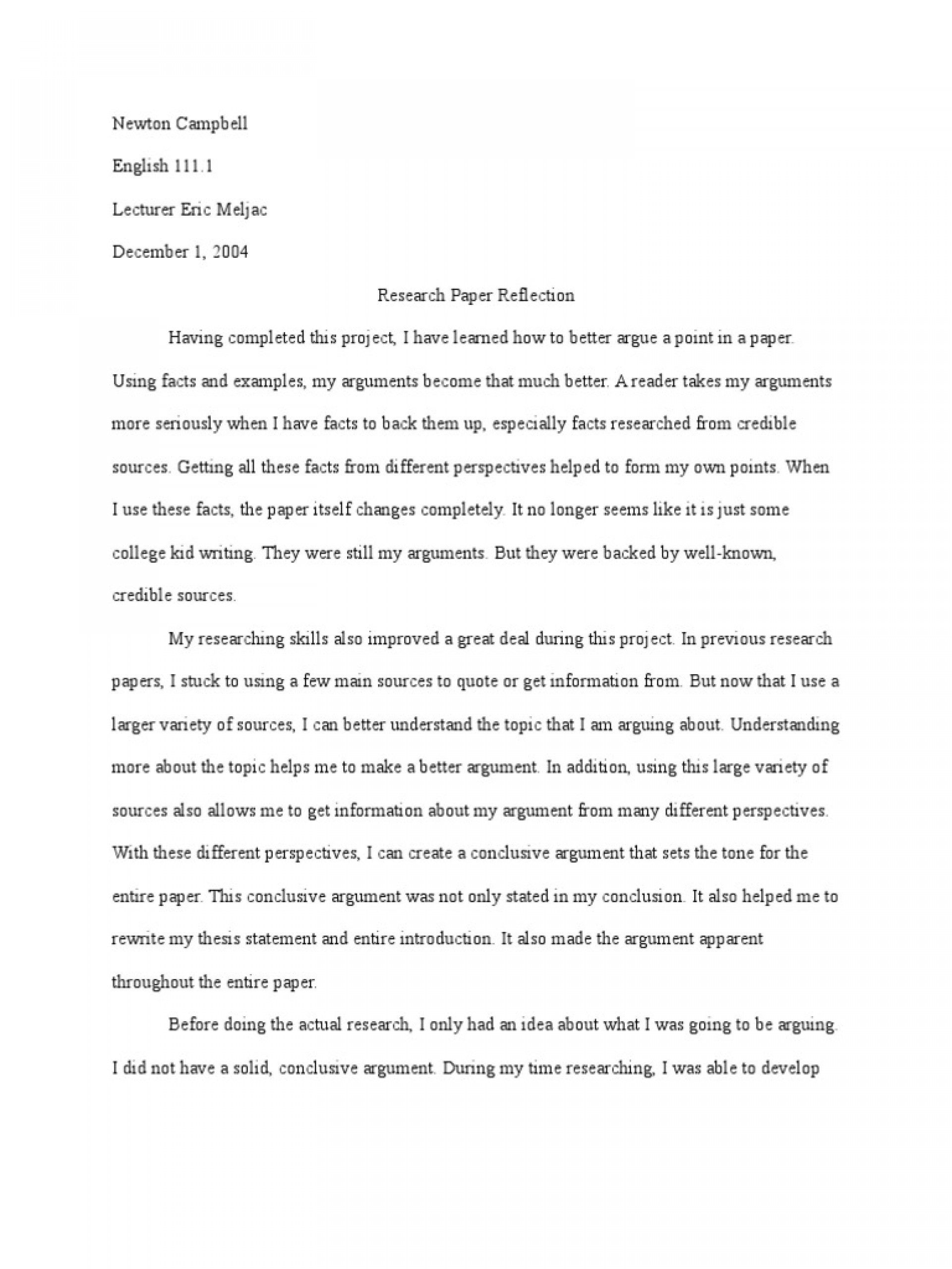 Community service reflection paper essay