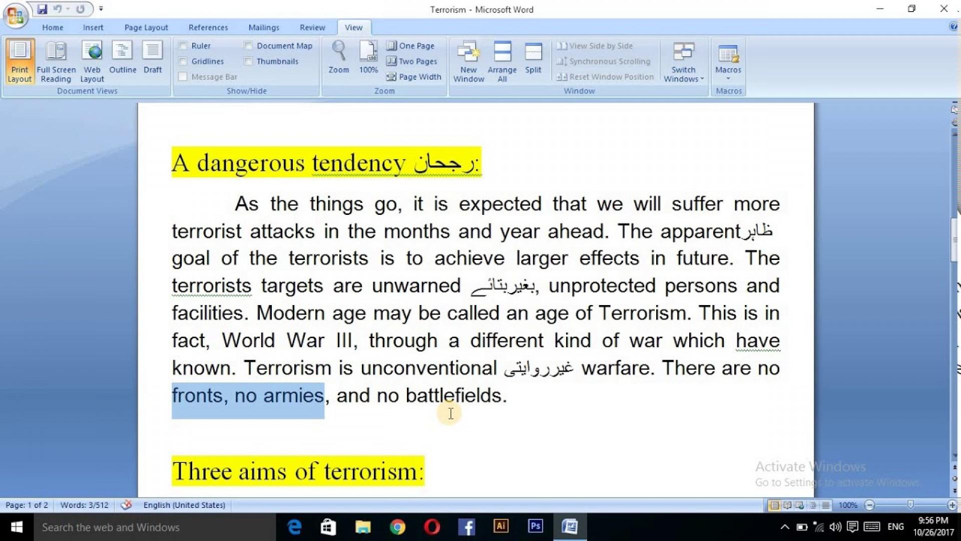020 Terrorism Essay Example Wonderful Topics In English War On 1920