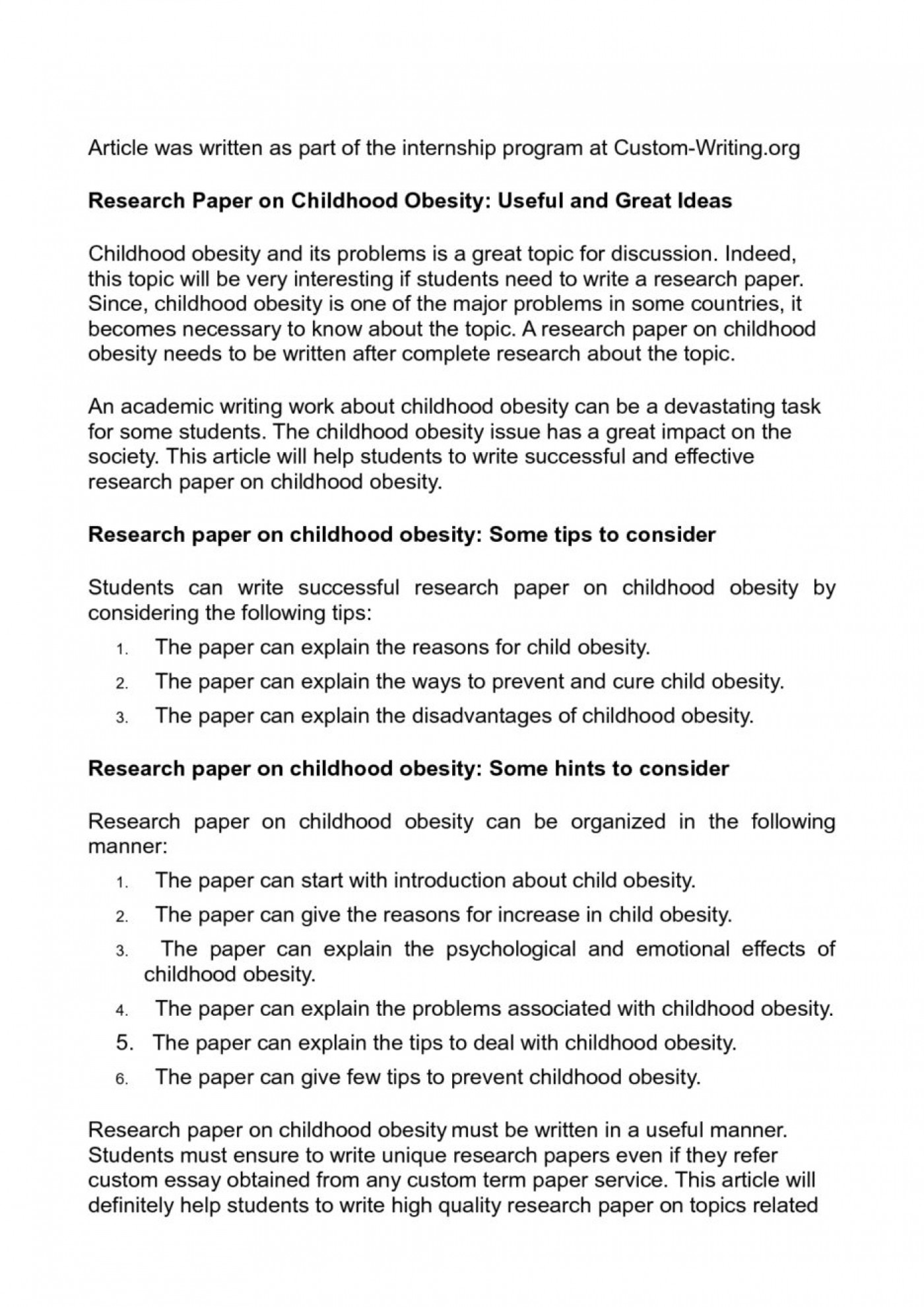 Childhood obesity effects essay topics