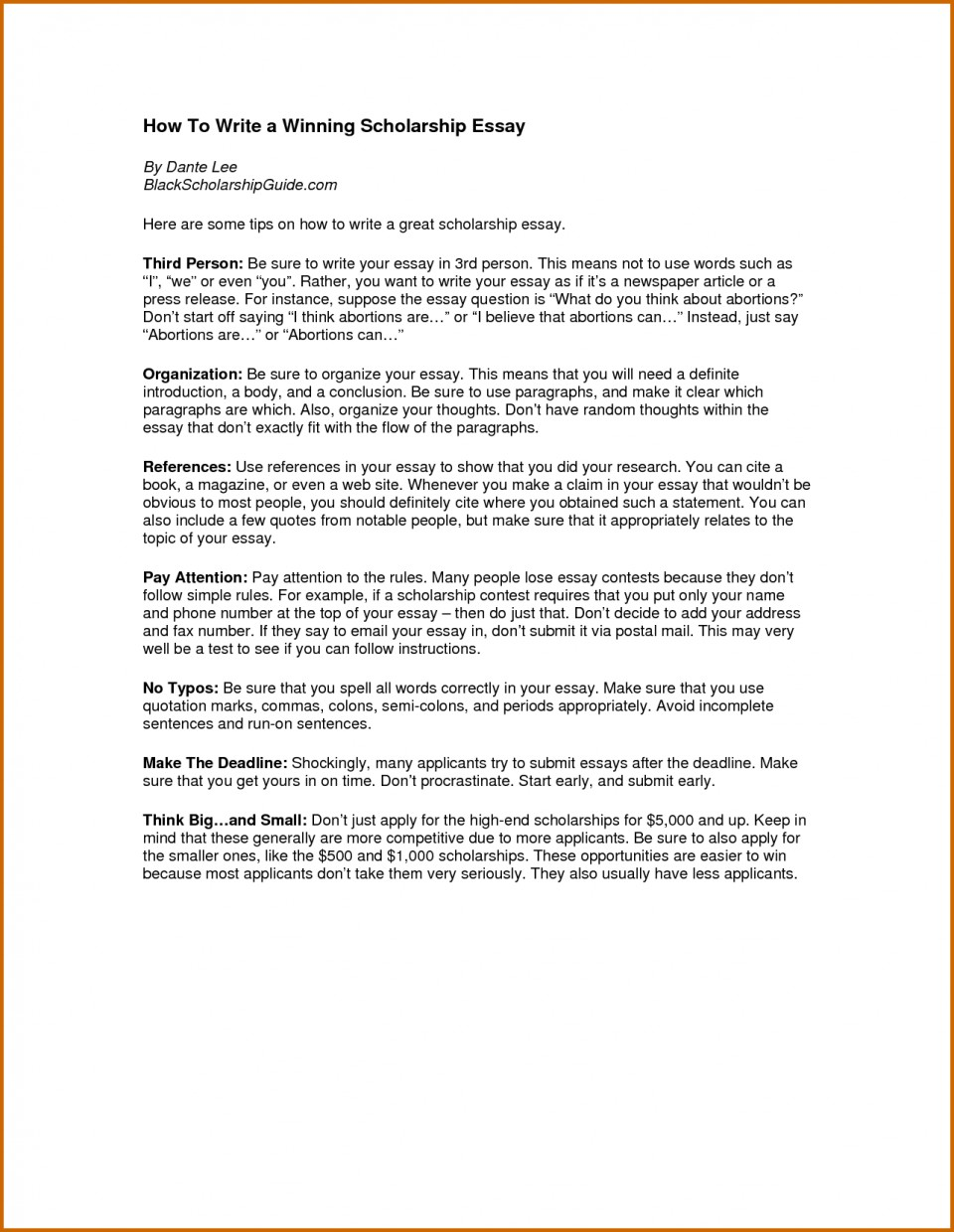 021 Essay Example How To Write Scholarship Scholarships For Juniors In High School Stunning No 960