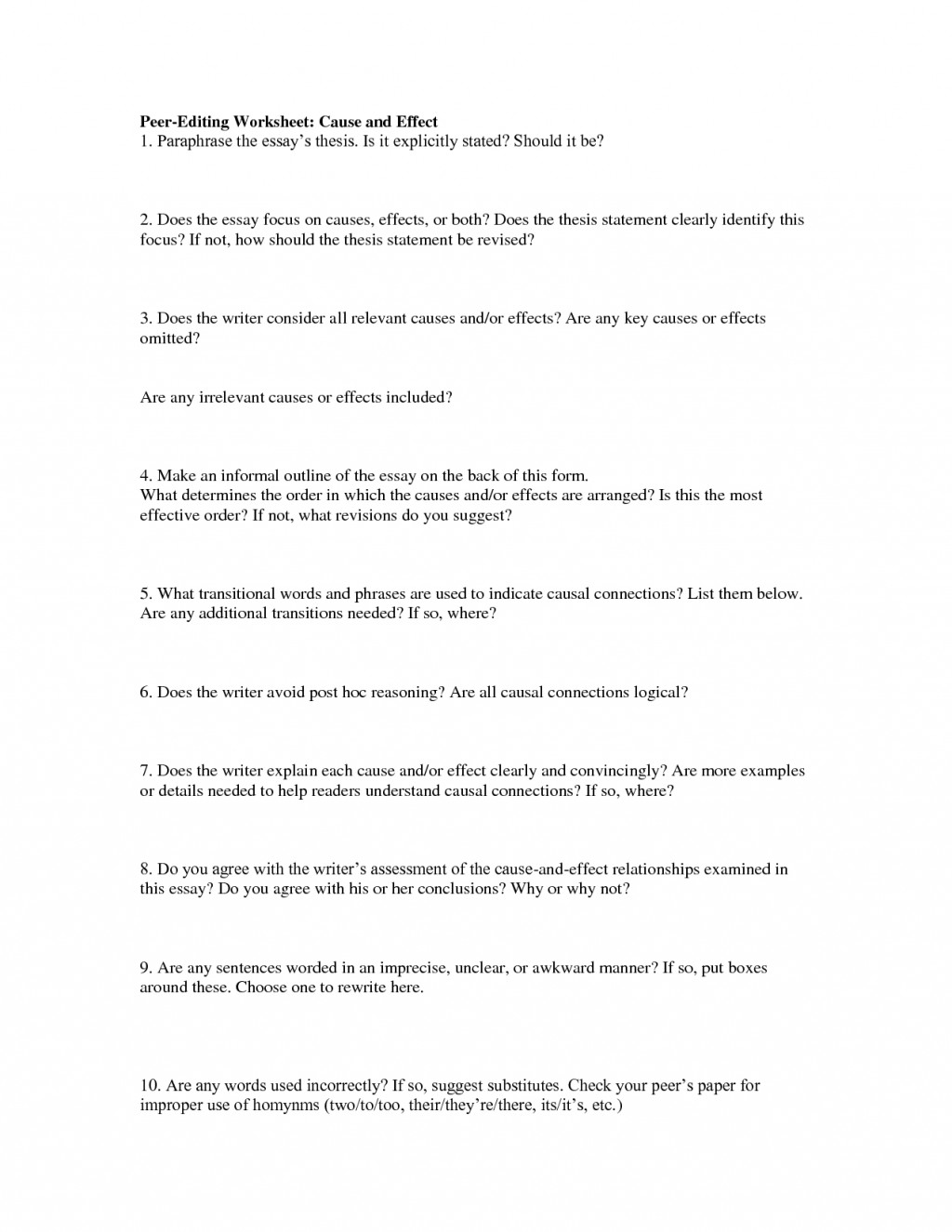 021 Essay Example Peering Worksheet For Cause And Effect 438929 Fascinating Edit Free Grammar Service Large