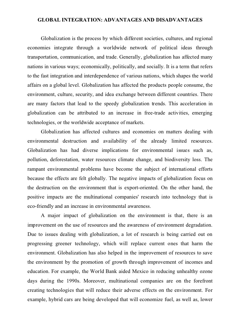 021 Essayglobalization Phpapp02 Thumbnail Essay Example Advantage And Disadvantage Of Shocking Science Advantages Disadvantages In Kannada Language Marathi Full