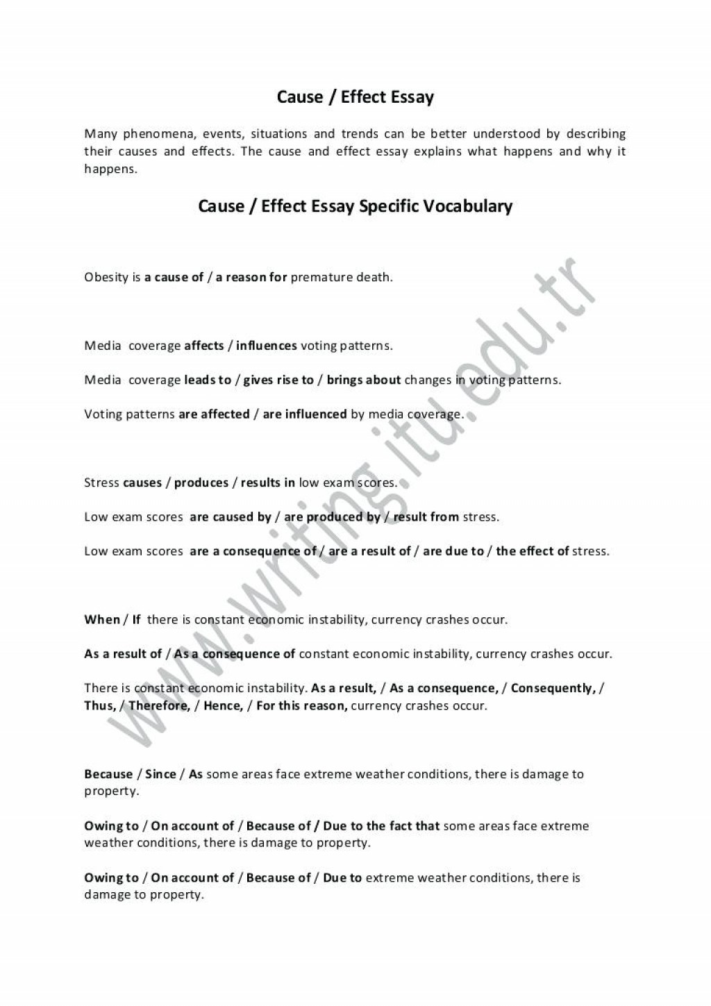 021 Examples Of Cause And Effect Essay Topics Example Outline Resume Thesis Rare Writing Prompts Large