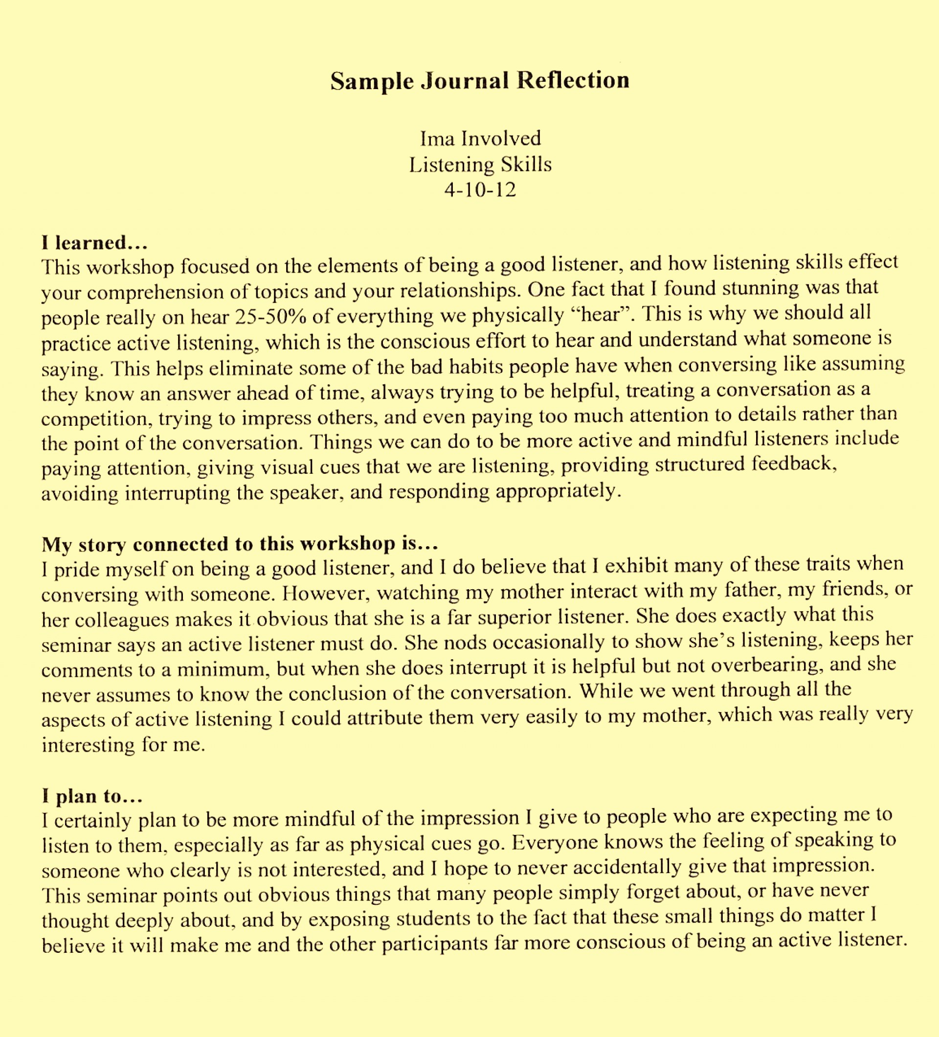 021 Examples Reflective Essay L Example How To Start Surprising A Introduction Write An 1920