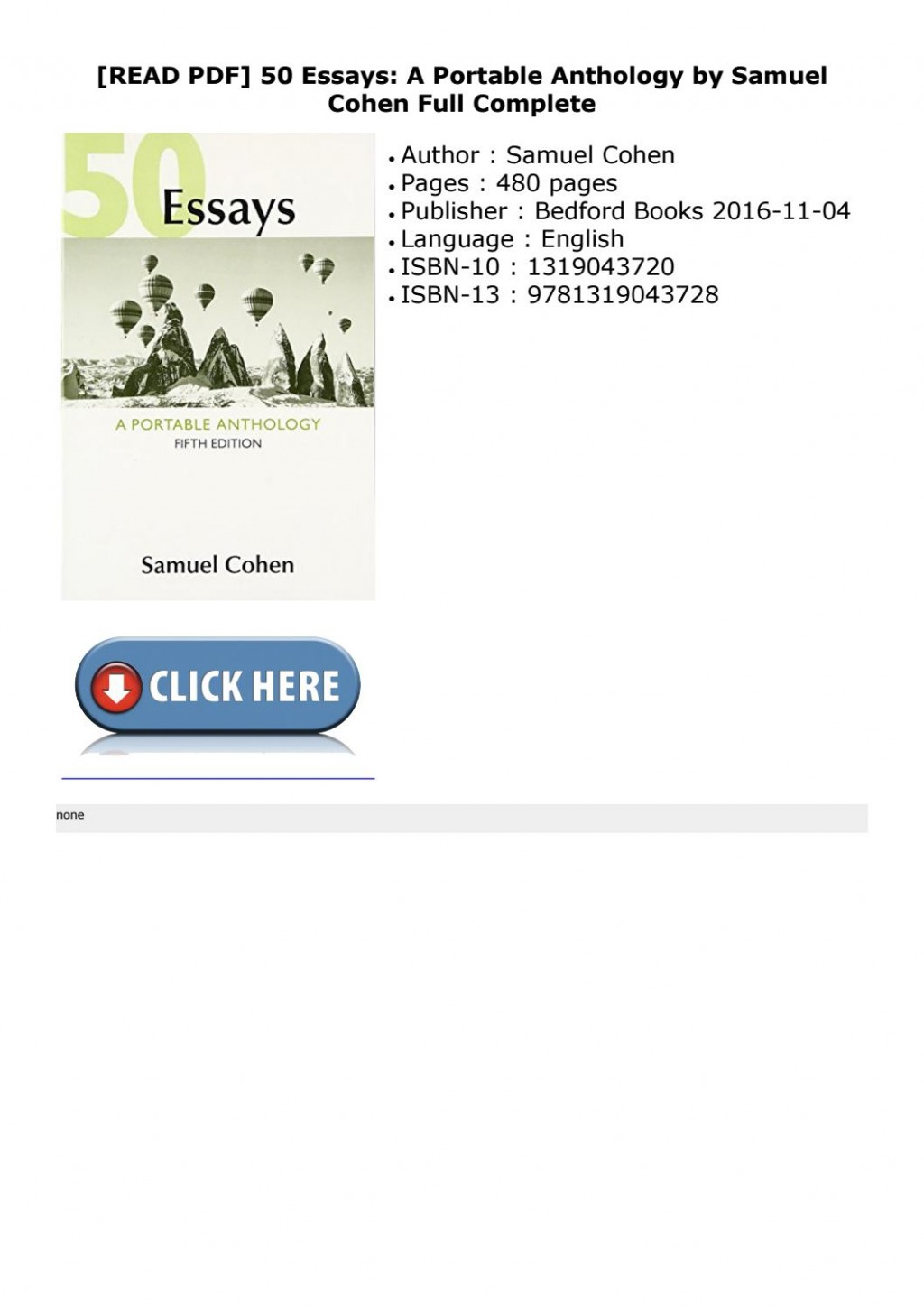 021 Page 1 Essays 5th Edition Essay Imposing 50 Fifty Great Pdf Free A Portable Anthology Ebook Large