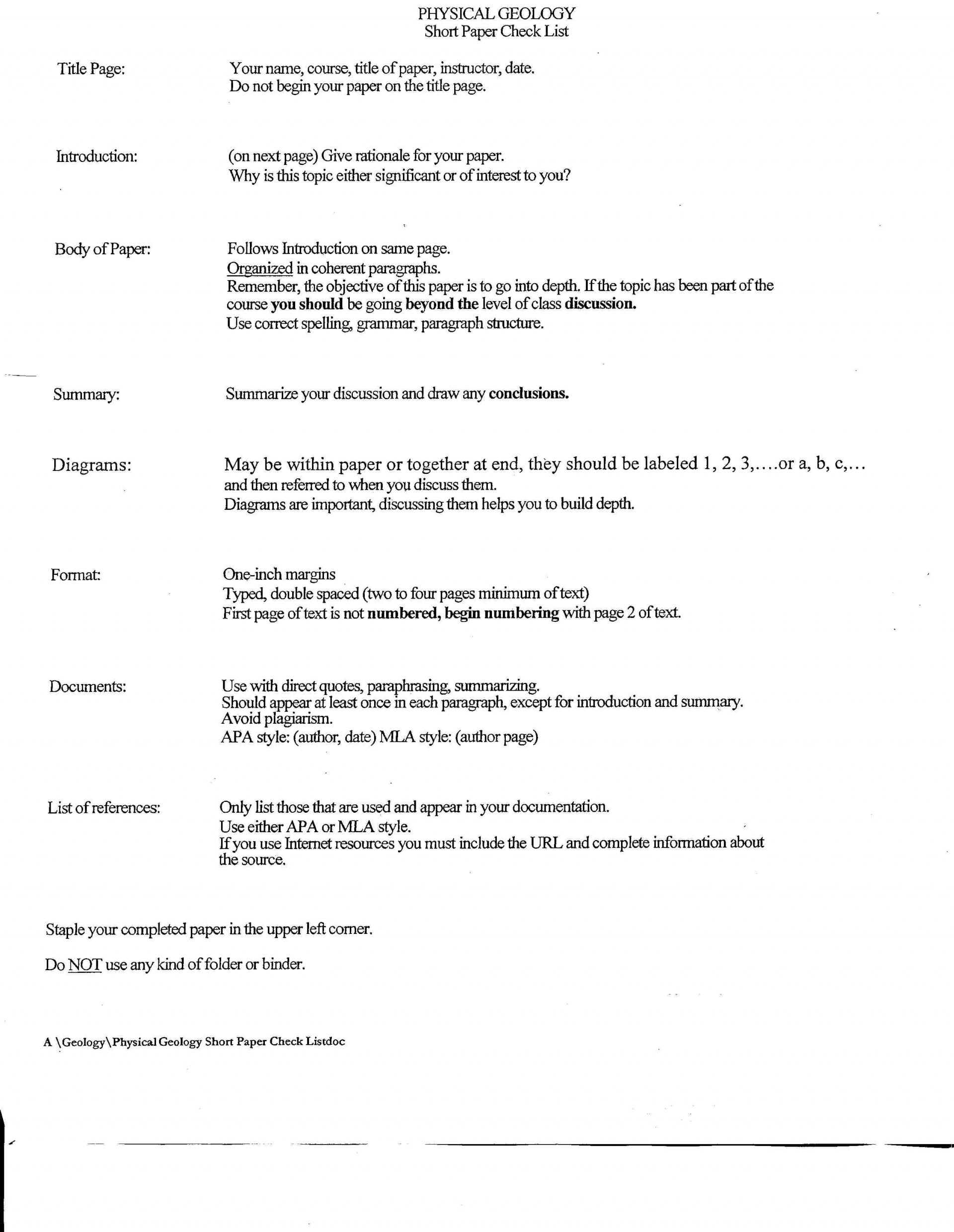 021 Short Paper Checklist Research Essay Dreaded Example Apa Papers Pdf Format 6th Edition 1920