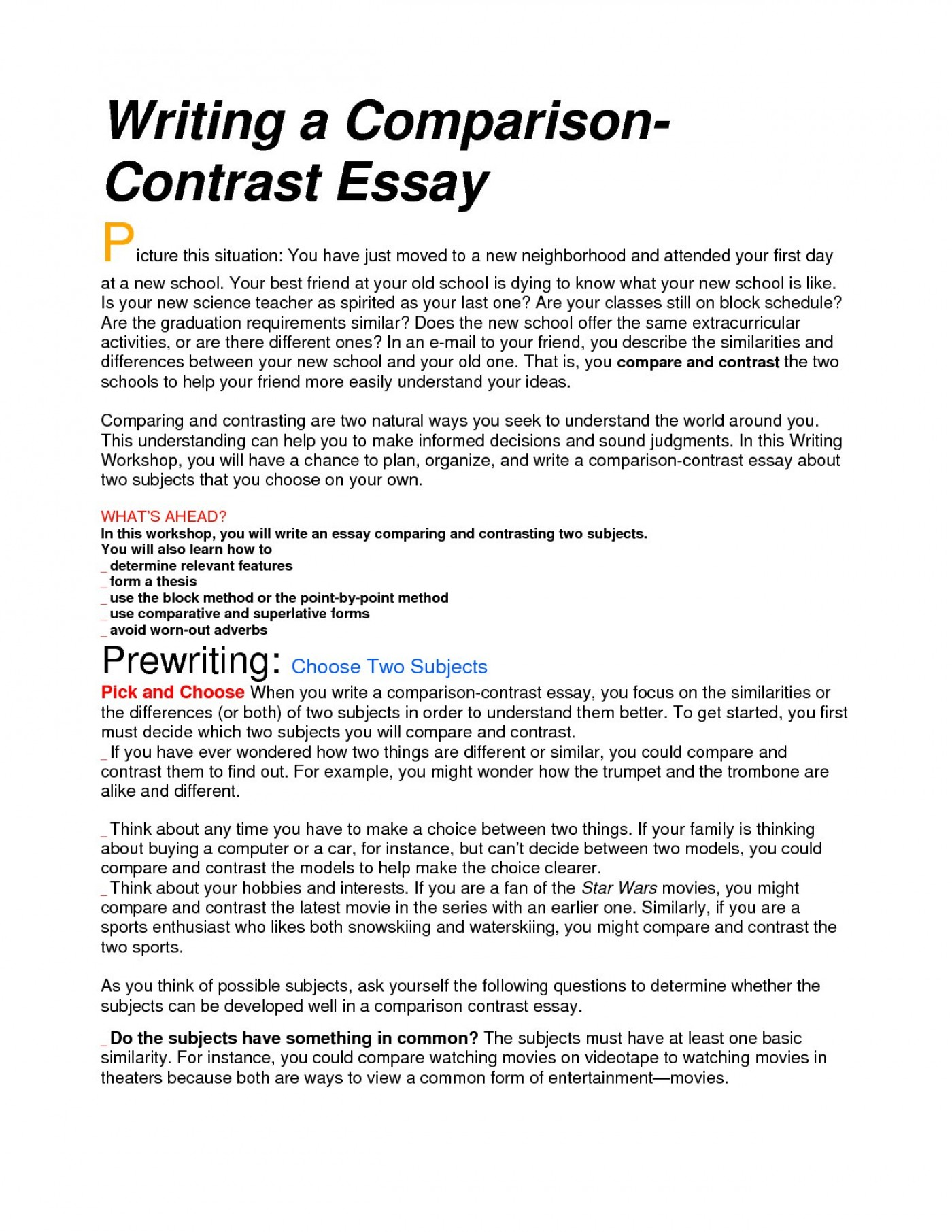 004 compare and contrast essay sample topics for
