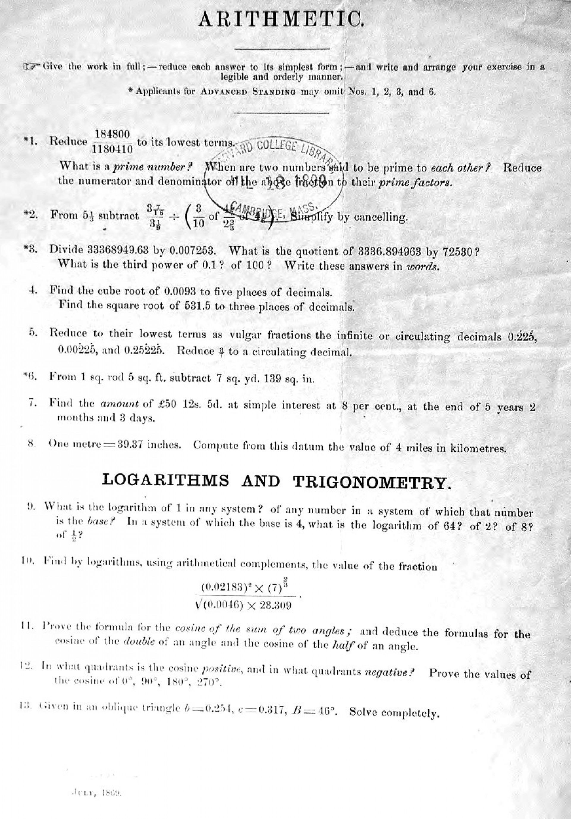 022 Act Essay Harvard Arithmetic Fearsome Topics Time Limit 1920