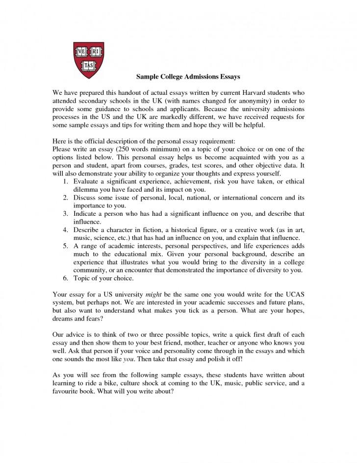 College admission essay setup