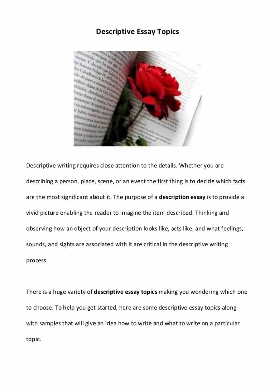 022 Essay Example Description Descriptiveessaytopics Phpapp01 Thumbnail Impressive Descriptive Format Rubric Pdf Outline And Structure Large