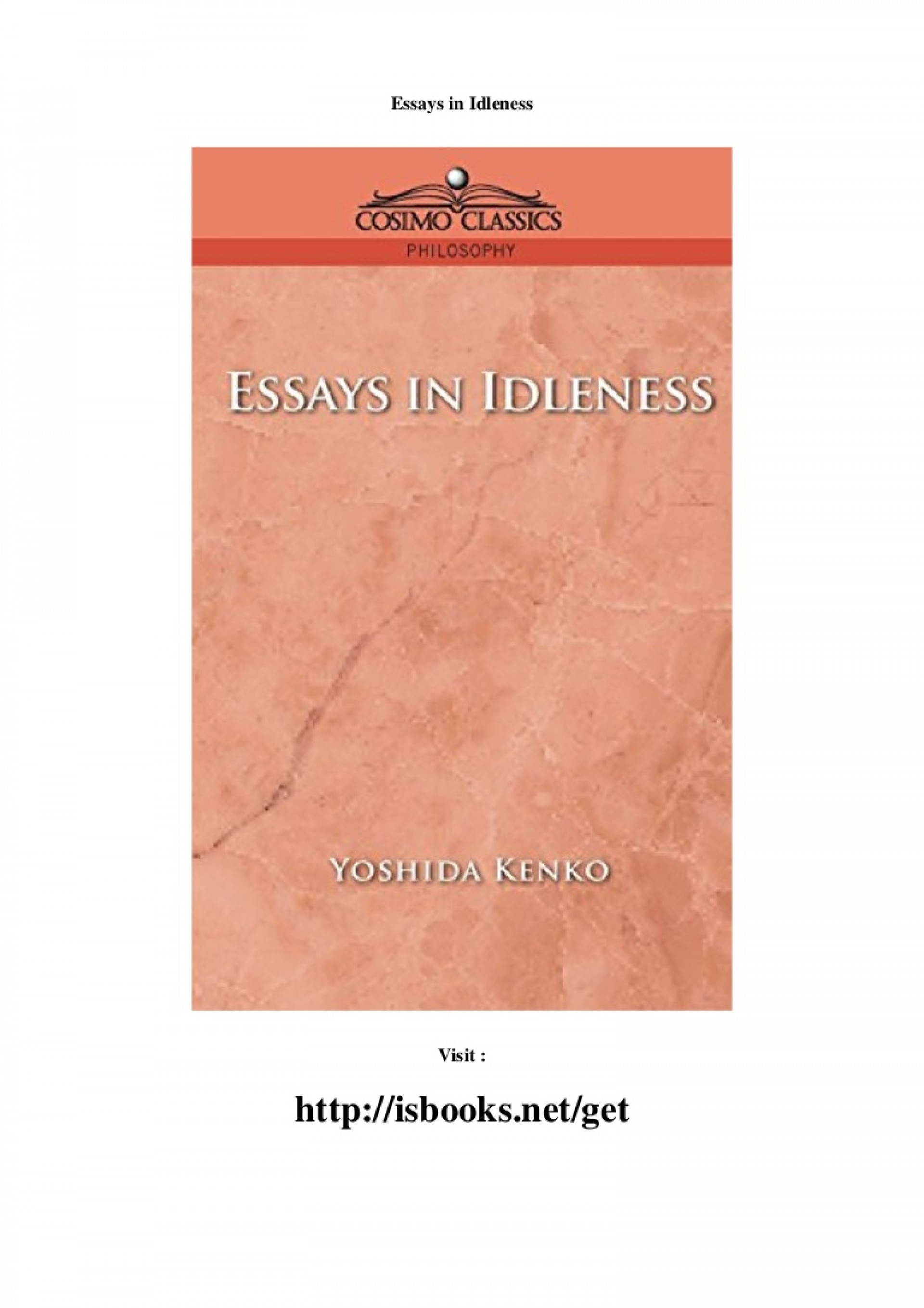 022 Essay Example Essaysinidleness Thumbnail Essays In Magnificent Idleness Summary The Tsurezuregusa Of Kenkō 1920