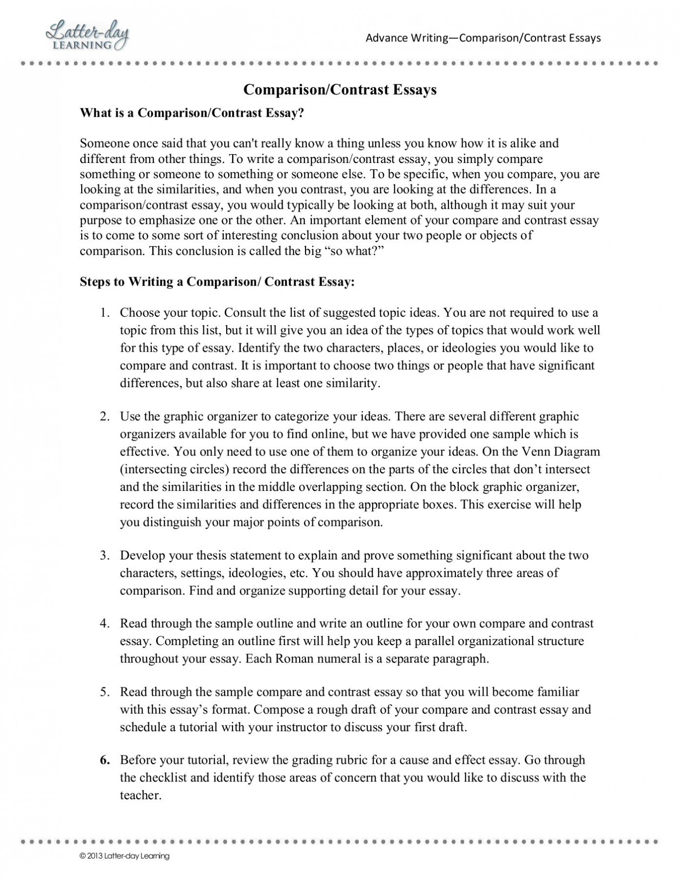 022 Essay Example How To Outline Compare And Awesome A Contrast Create An For 1400