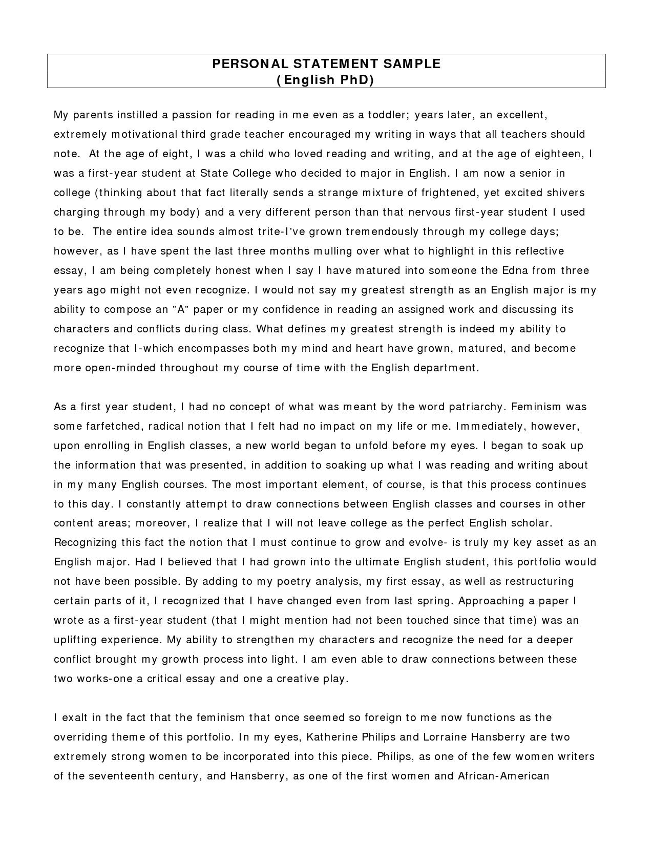 022 Essay Example Reflective Postgraduate Personal Statement