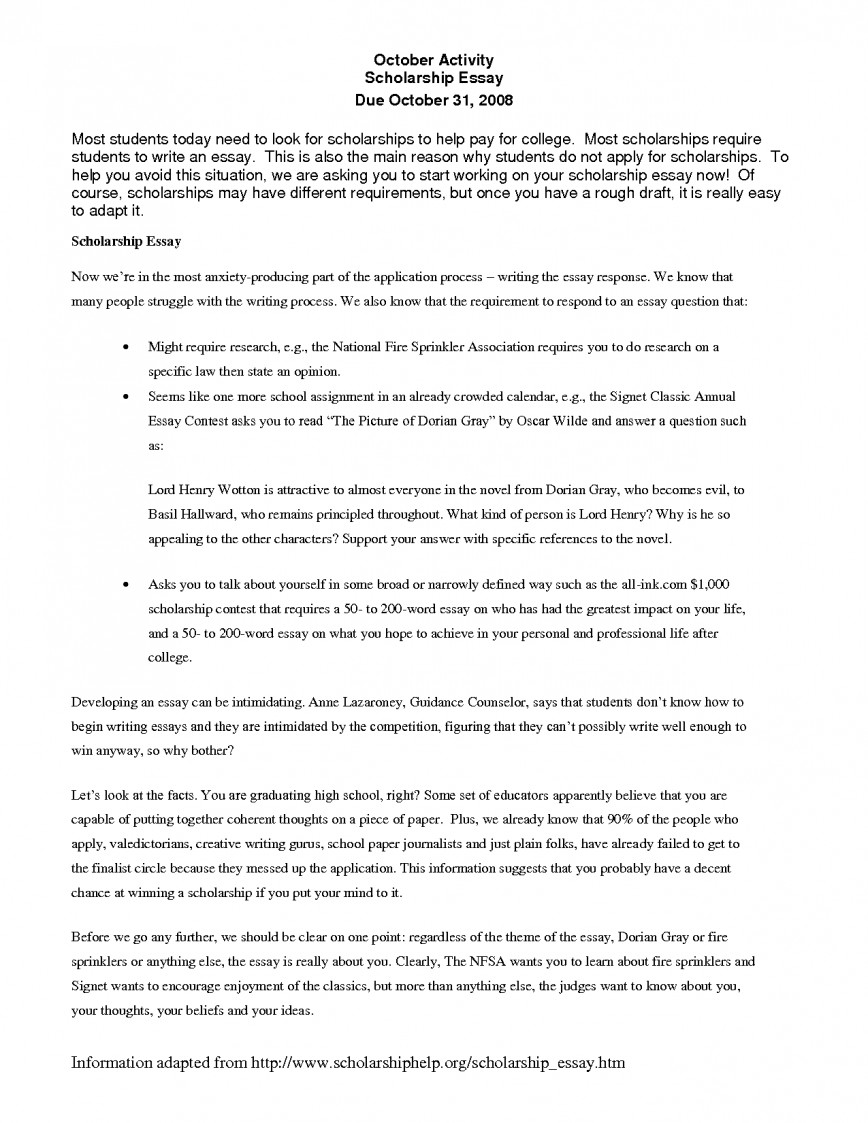 022 Essay Example Template Writing Scholarship Examples Splendi Write How To Stunning Application Outline Guidelines