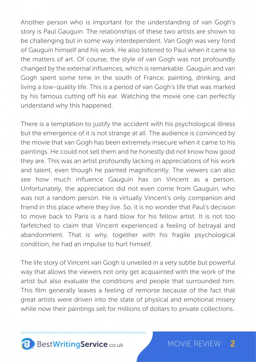 022 Movie Review Vincent And Theo Essay Exceptional Format Paper Samples Example