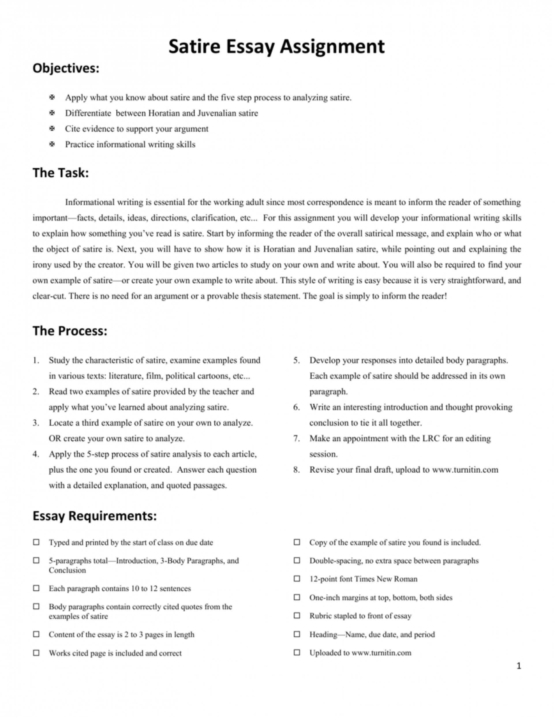 022 Satire Essays 006798123 2 Excellent Essay Examples On Bullying Love 1920