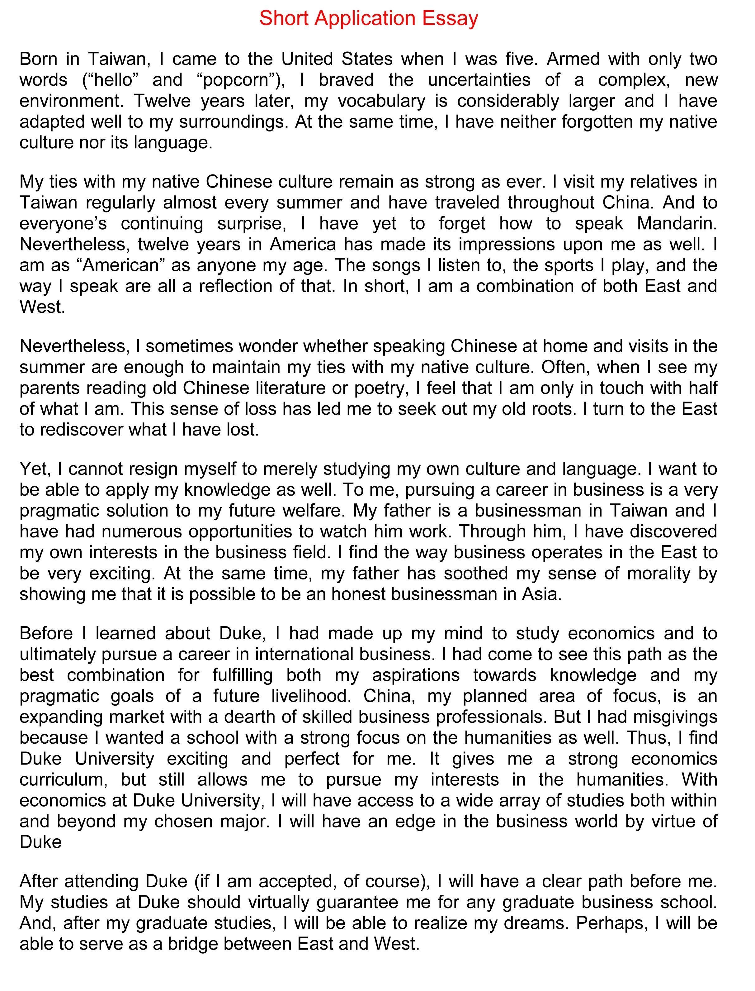 022 Short Essay Example Duke Fearsome Supplement Collegevine Supplemental Reddit Full