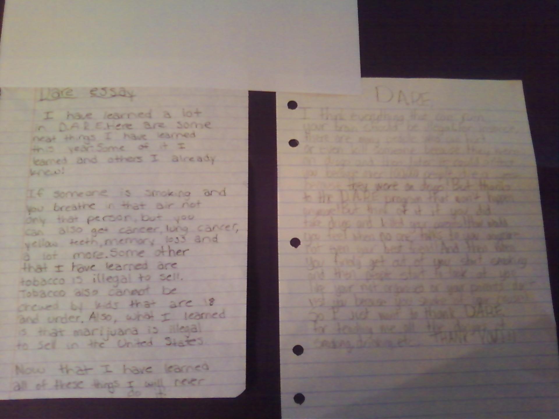 023 5th Grade Dare Essay Dare6 Outstanding Examples Winning Essays 1920