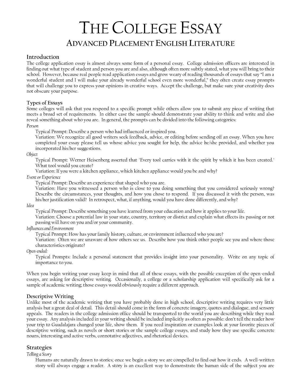 021 Essay Example Template Examples Of College Application Prompts