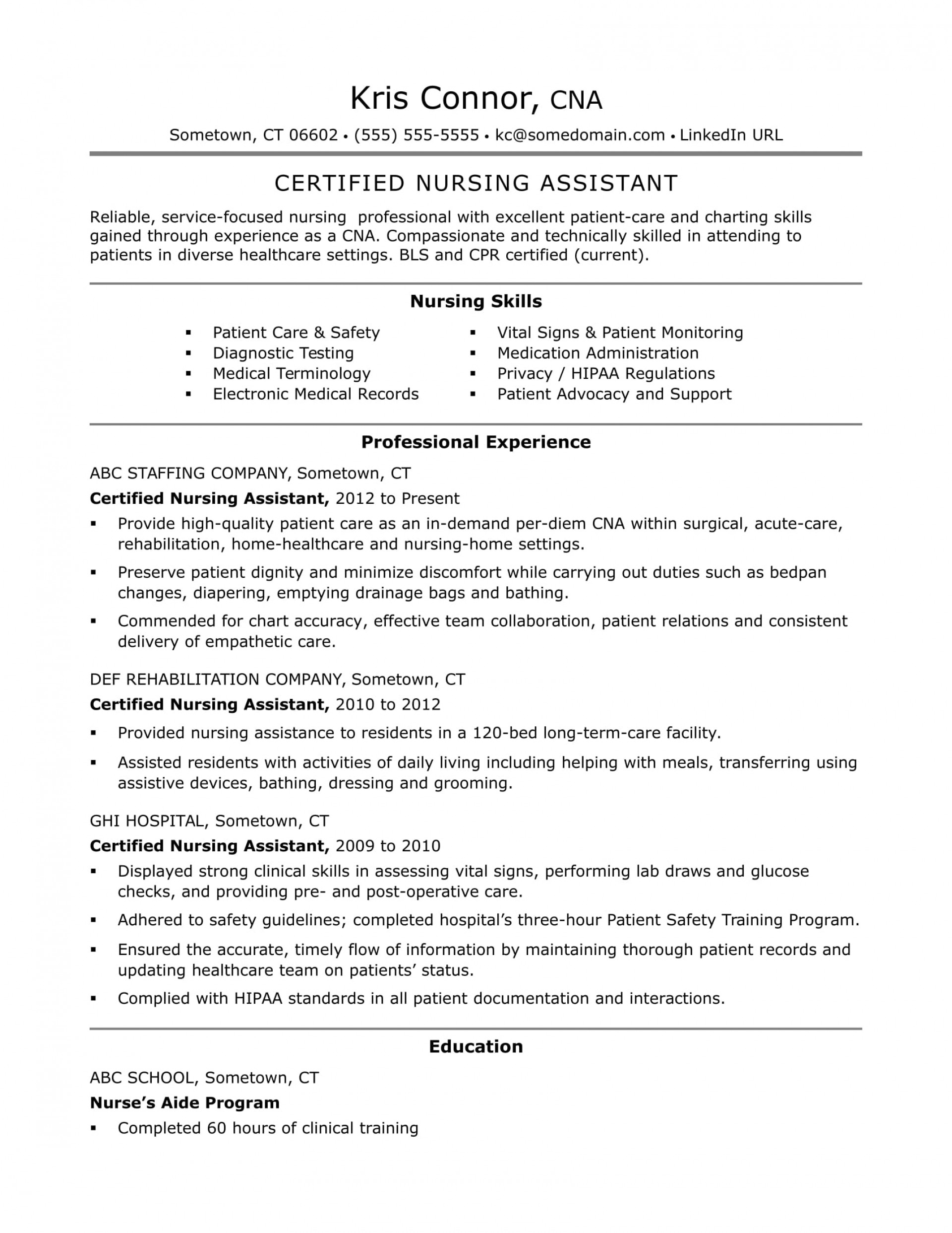 023 Certified Nursing Assistant Essay Example Archaicawful Hipaa 1920
